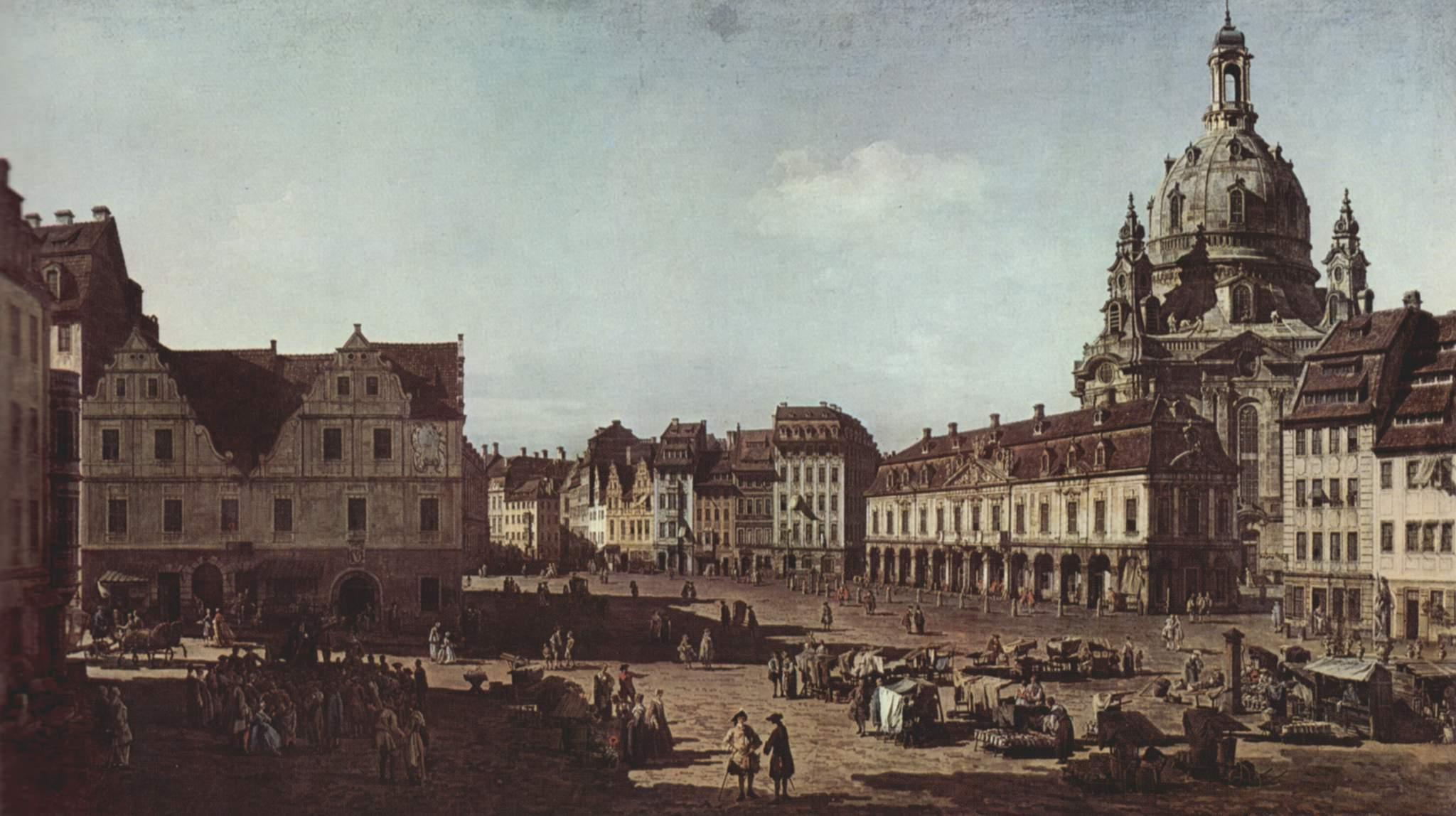 Вид Дрездена, новый рынок со стороны Моритцштрассе, Джованни Антонио Каналетто 1