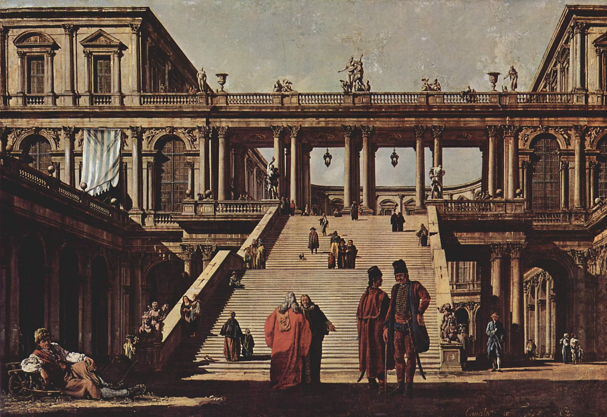 Каприччио, дворцовая лестница, Джованни Антонио Каналетто 1