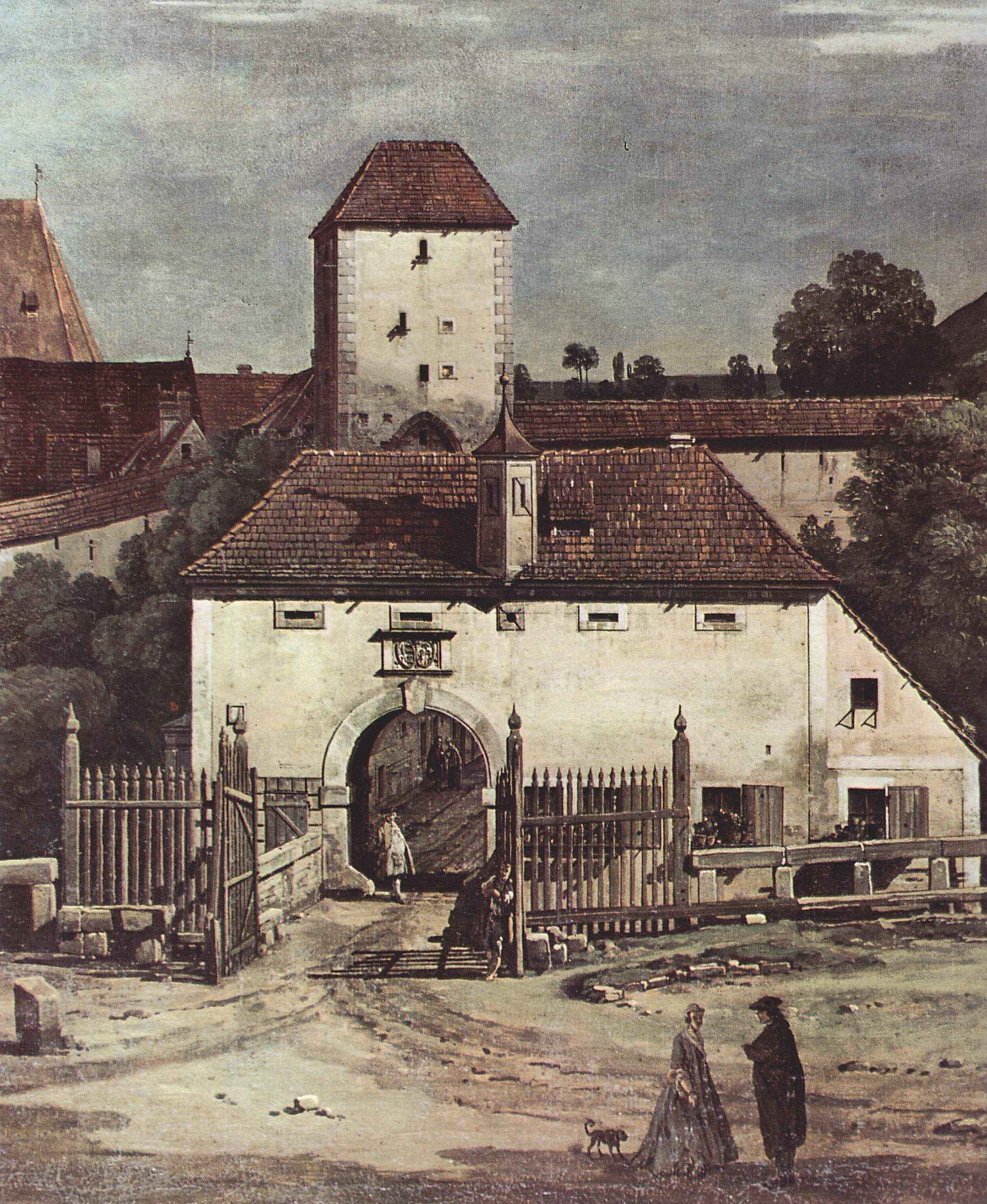Вид Пирны с южной стороны. Крепостные укрепления и Верхние (городские) ворота. Деталь, Джованни Антонио Каналетто 1