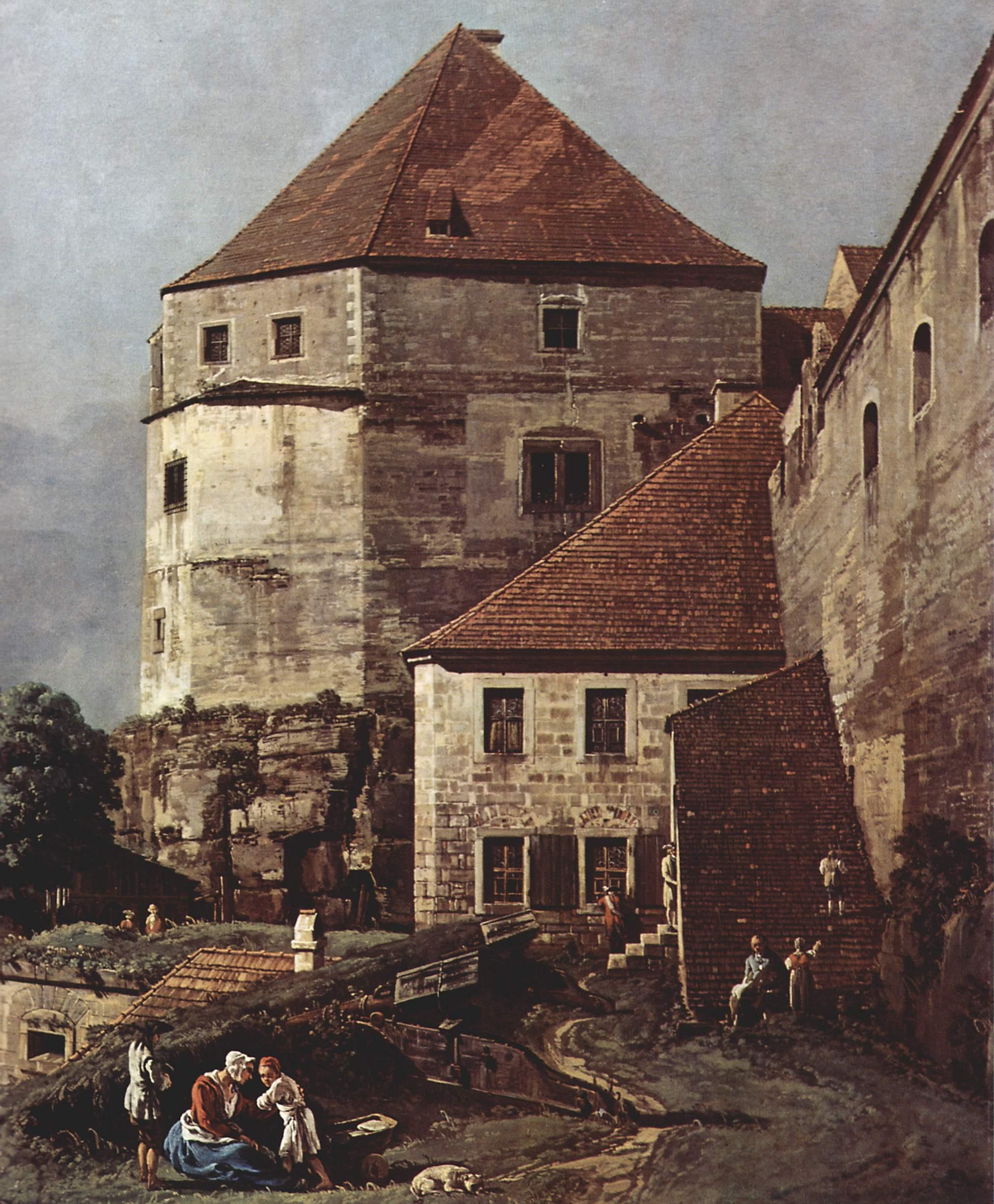 Вид Пирны, Пирна, вид со стороны крепости Зонненшайн. Деталь, Джованни Антонио Каналетто 1