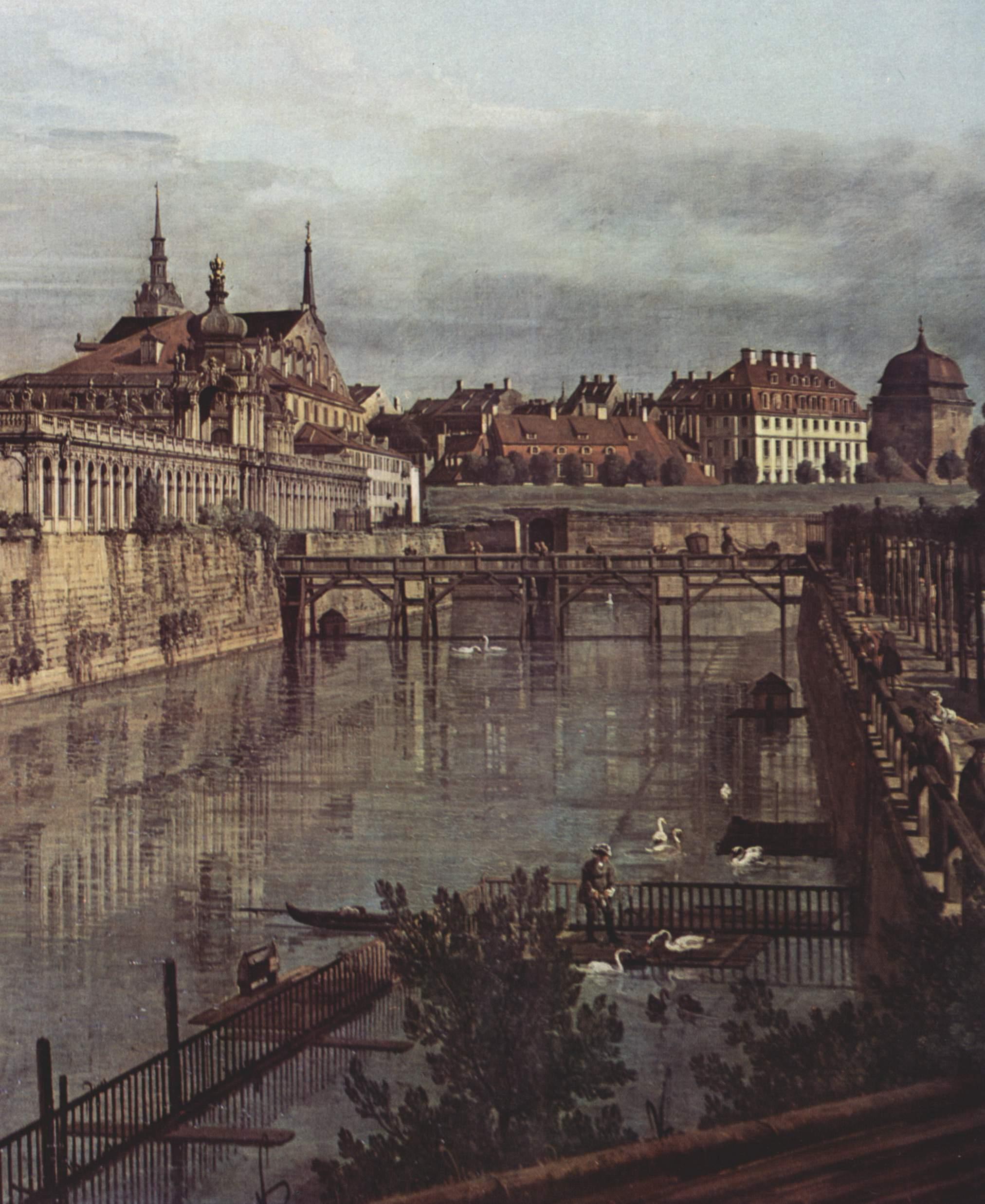 Вид Дрездена, старый крепостной ров в Цвингере, вид из оранжереи по направлению к городу. Деталь, Джованни Антонио Каналетто 1