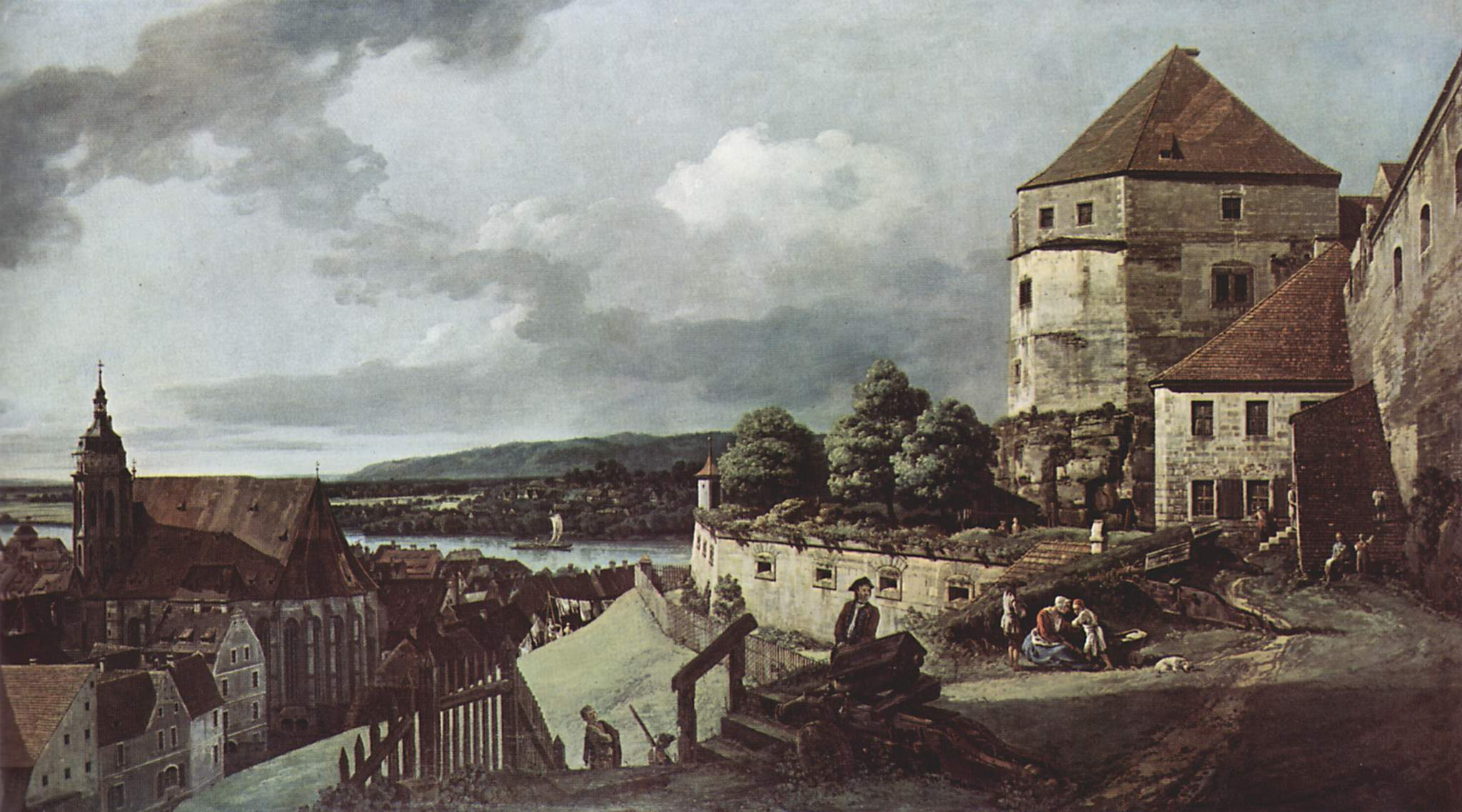 Вид Пирны, Пирна, вид со стороны крепости Зонненшайн, Джованни Антонио Каналетто 1