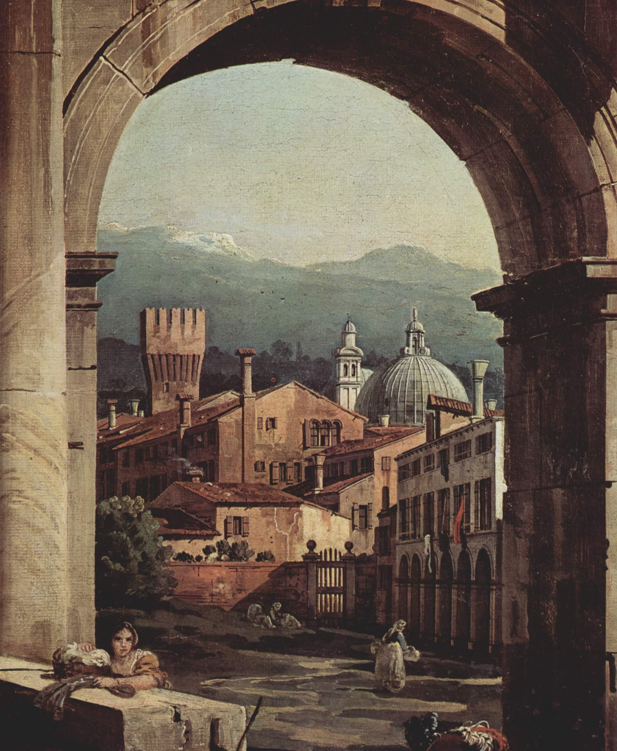 Римское каприччио, городские ворота и сторожевая башня. Деталь, Джованни Антонио Каналетто 1