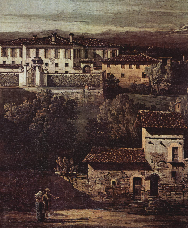 Деревня Гаццада, вид на виллу Мелци дЭрил с юго-востока, фрагмент, Джованни Антонио Каналетто 1
