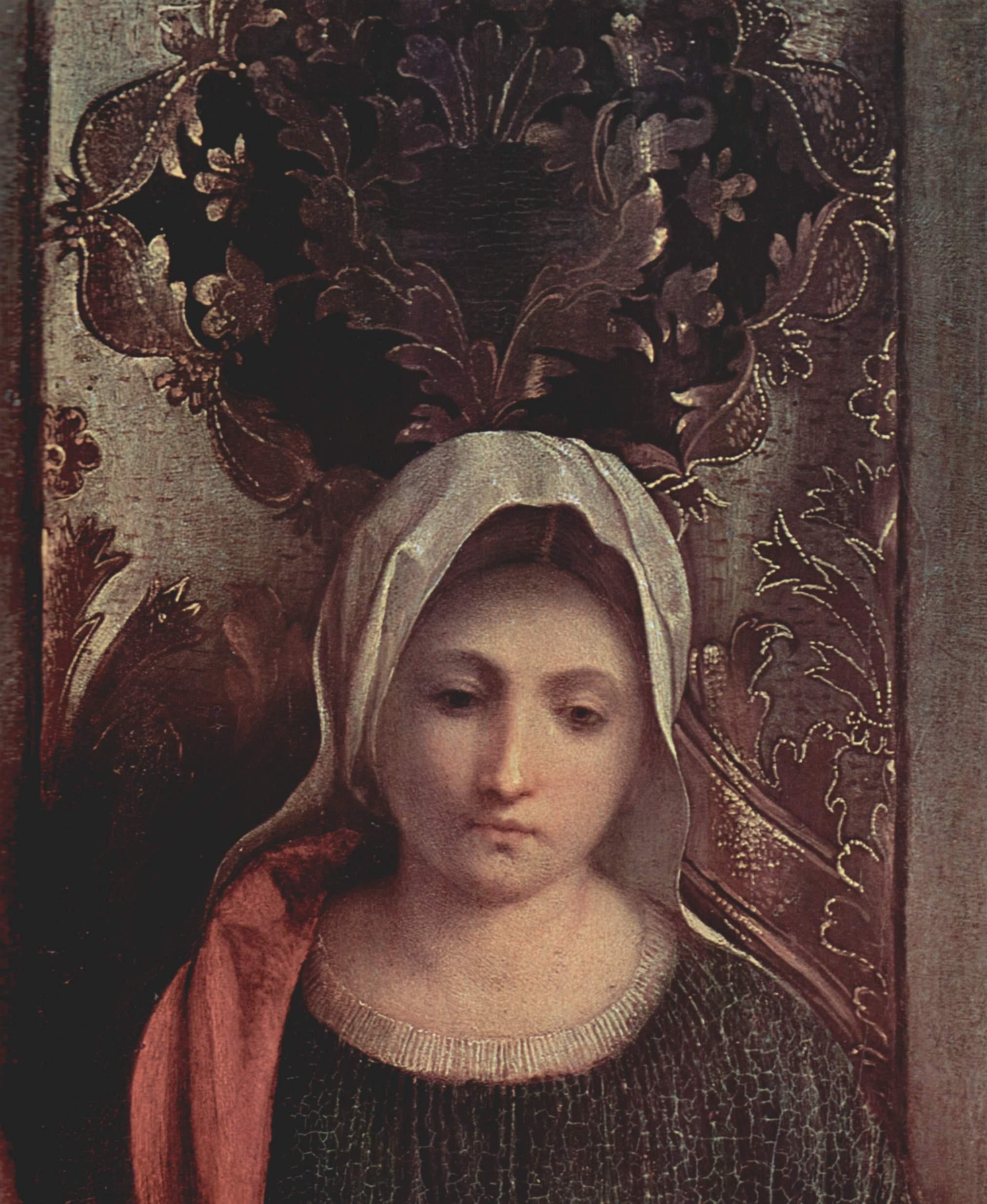 Алтарь Кастельфранко. Мадонна на троне со свв. Либералом из Тревизо и Франциском. Фрагмент. Мария, Джорджоне