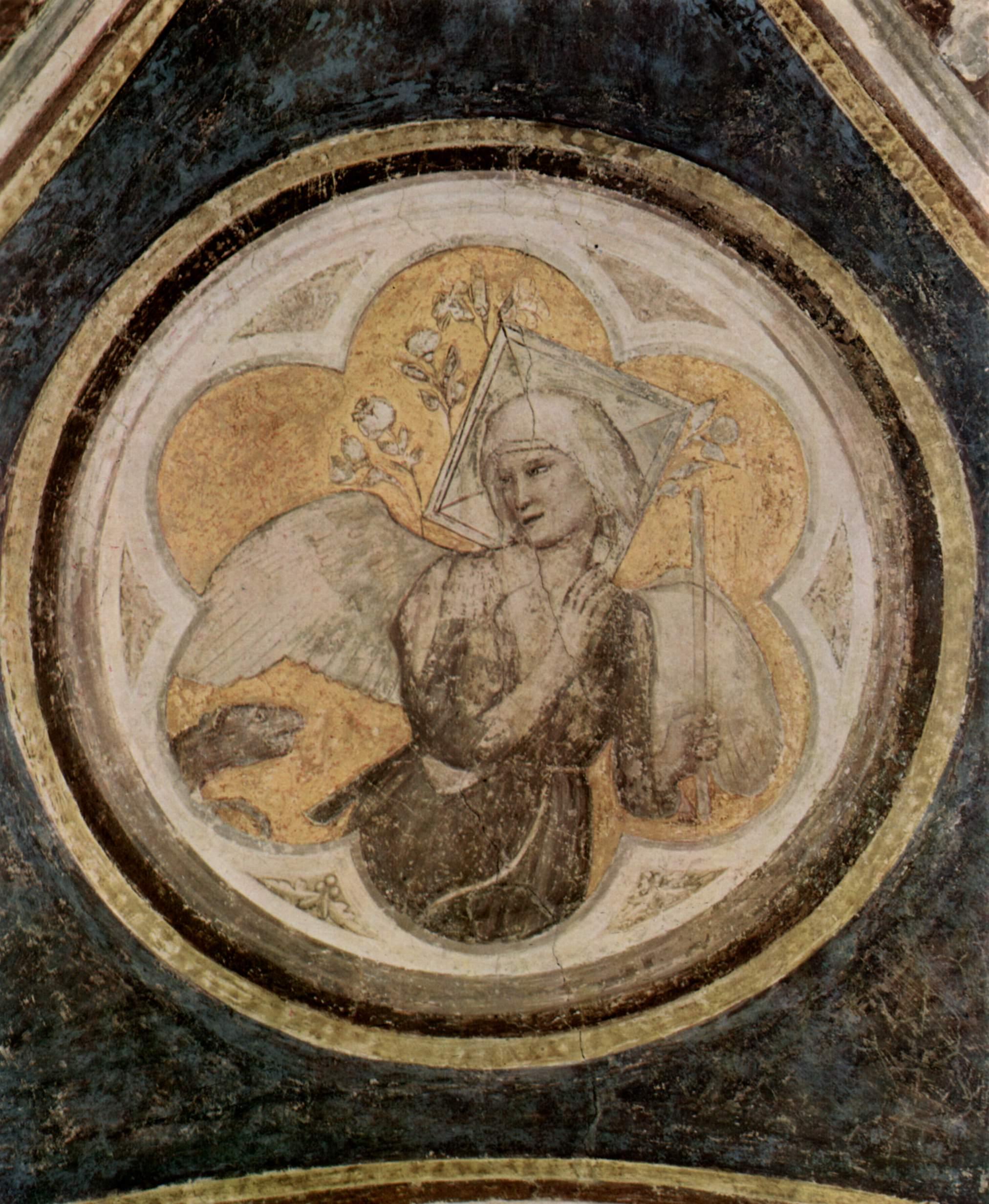 Цикл фресок из жизни св. Франциска, капелла Барди [01]. Санта Кроче во Флоренции. Аллегория Целомудр, Джотто ди Бондоне