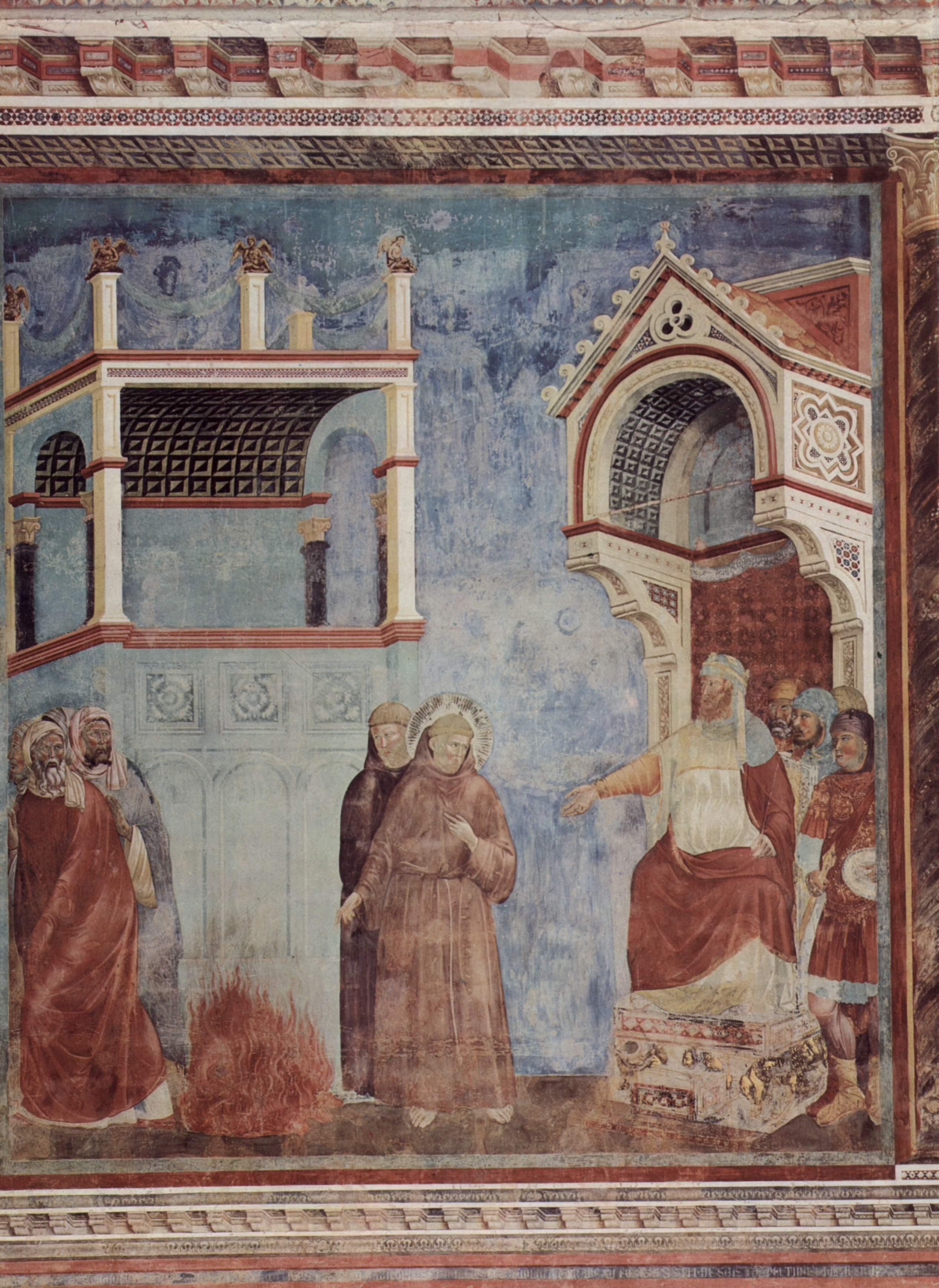 Цикл фресок о жизни св. Франциска Ассизского. Испытание огнем перед султаном, Джотто ди Бондоне