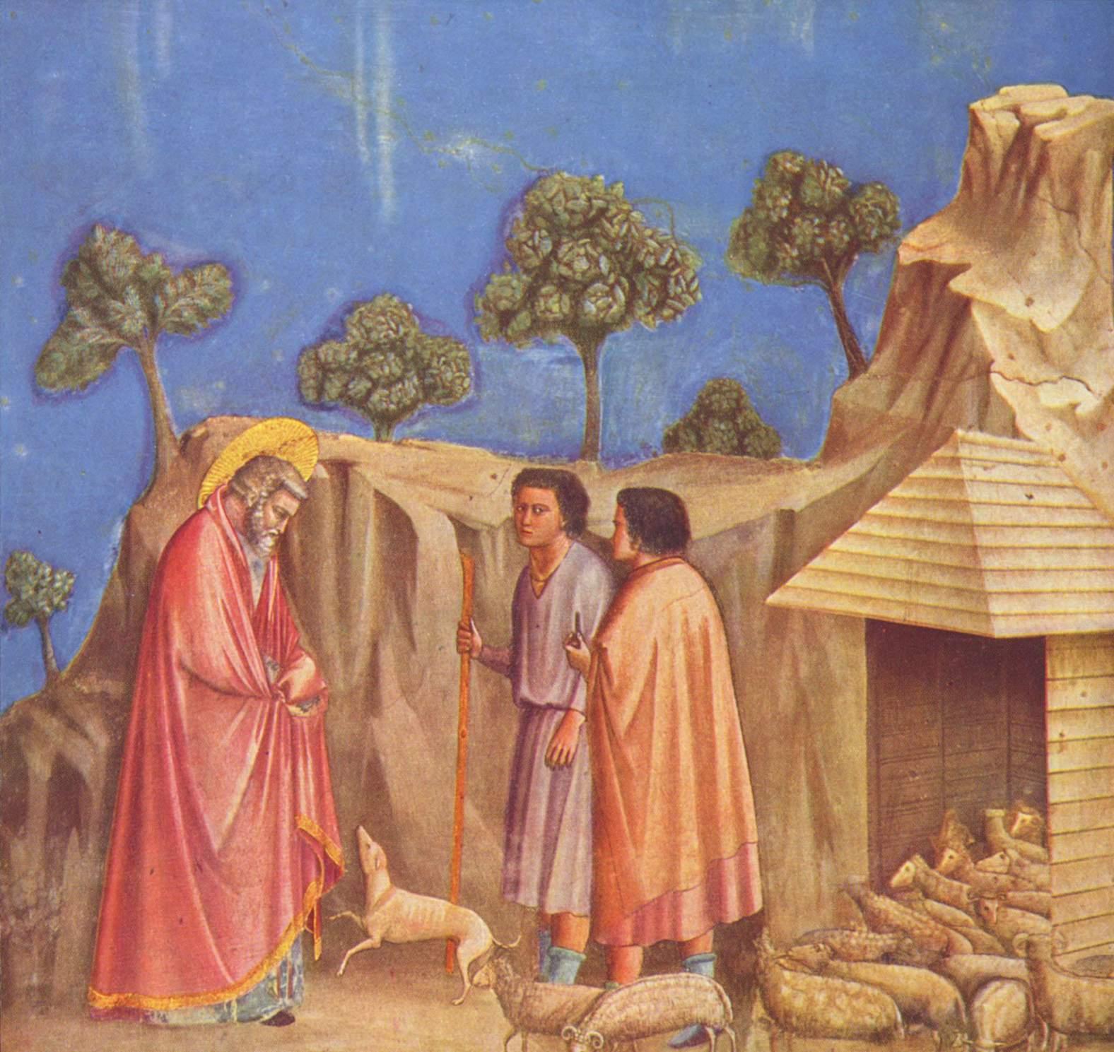 Цикл фресок капеллы Арена [10] в Падуе (капелла Скровеньи). Поклонение волхвов. Фрагмент, Джотто ди Бондоне