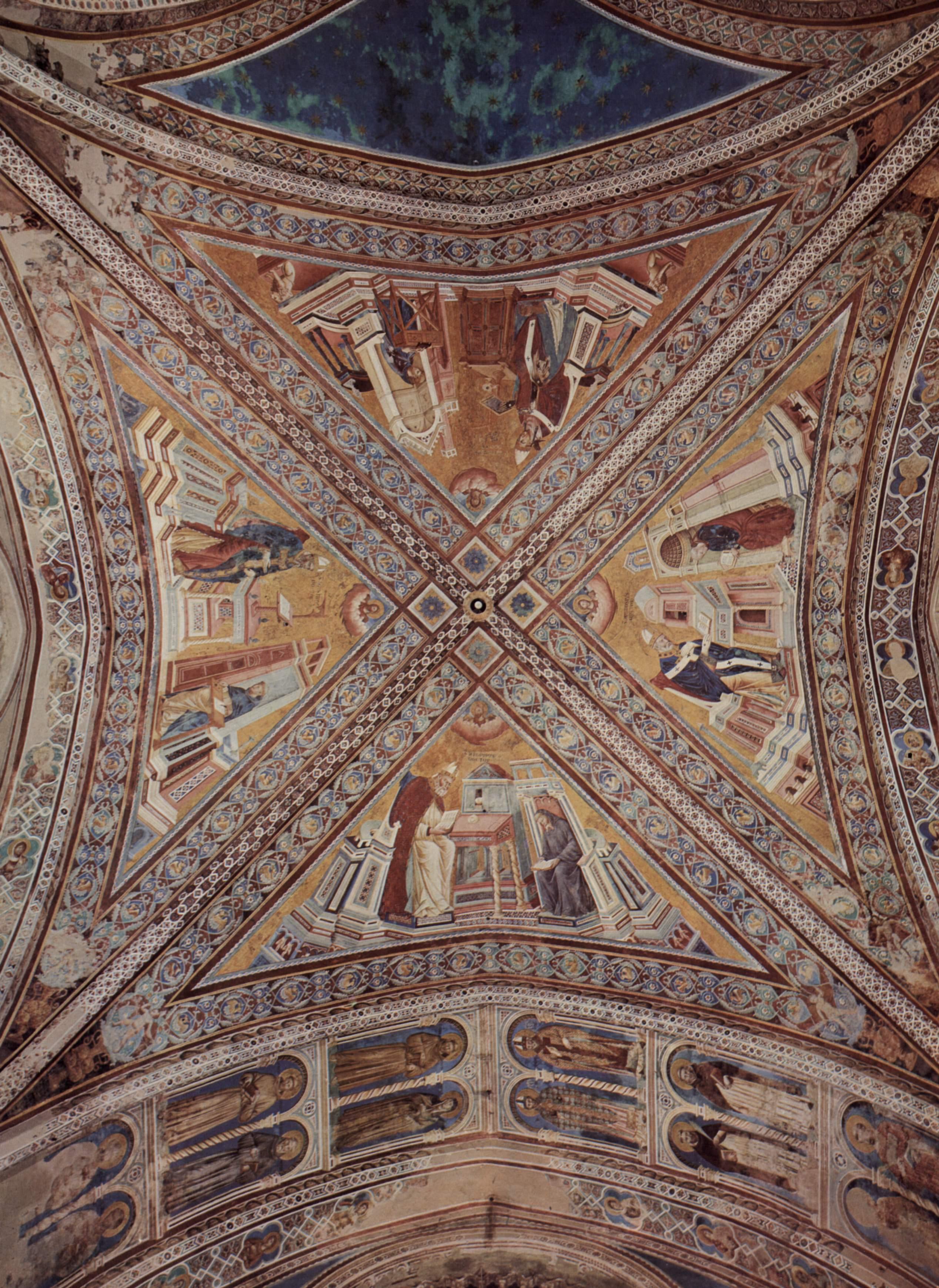 Цикл фресок о жизни св. Франциска Ассизского. Общий вид купола, Джотто ди Бондоне