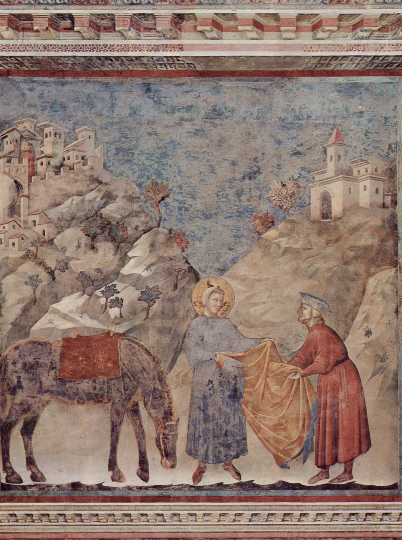 Цикл фресок о жизни св. Франциска Ассизского. св. Франциск дарит свой плащ бедному рыцарю, Джотто ди Бондоне