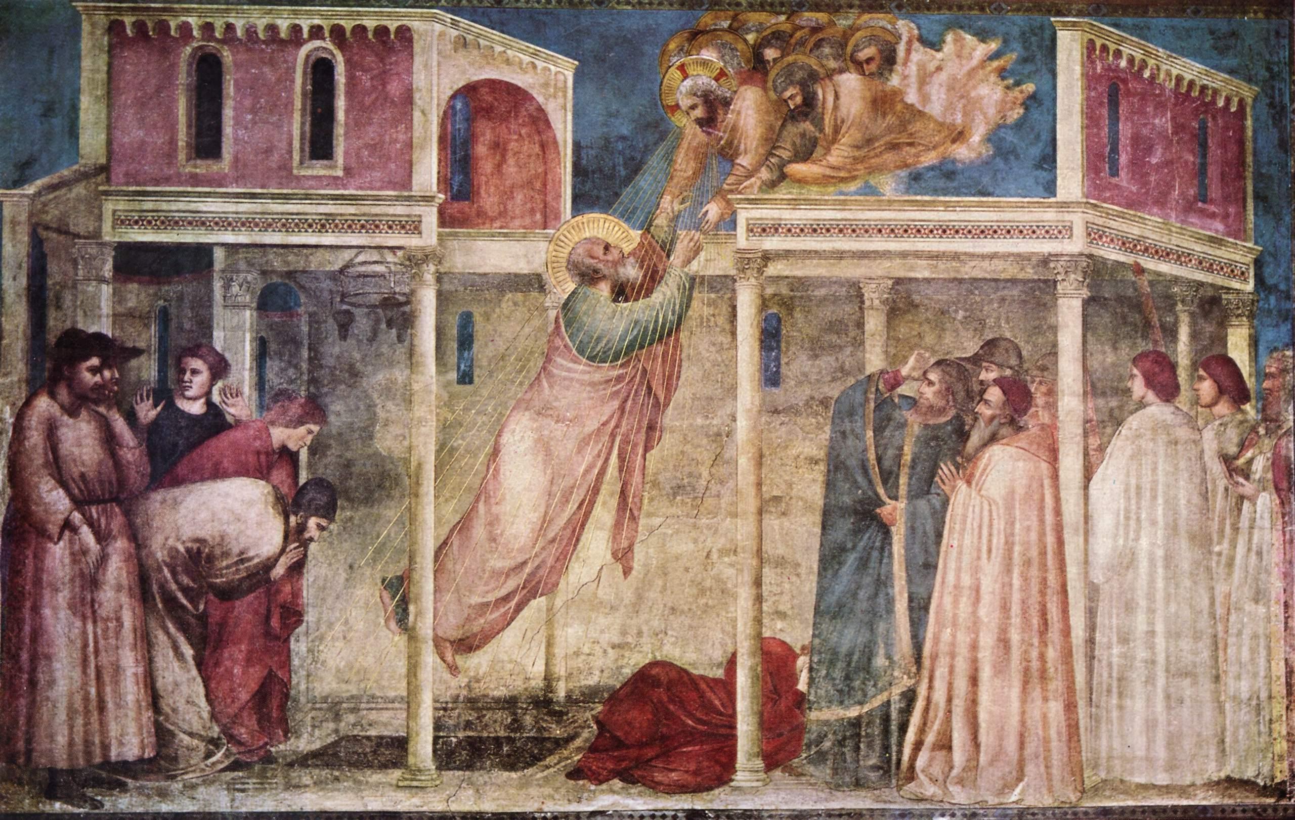 Цикл фресок капеллы Перуцци [08]. Санта Кроче во Флоренции. Вознесение евангелиста Иоанна, Джотто ди Бондоне