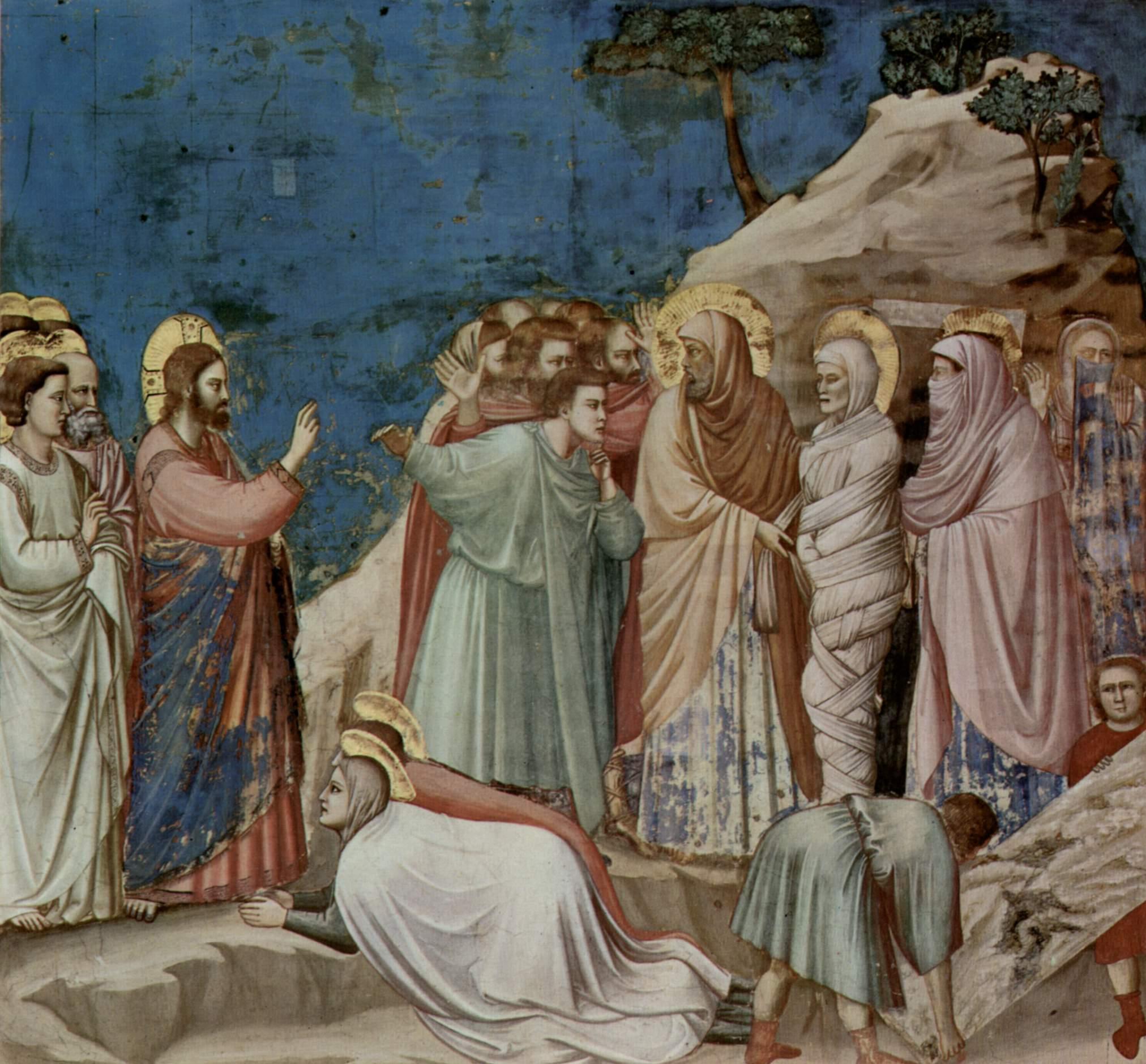 Цикл фресок капеллы Арена [20] в Падуе (капелла Скровеньи). Изгнание торгующих из храма. Фрагмент, Джотто ди Бондоне