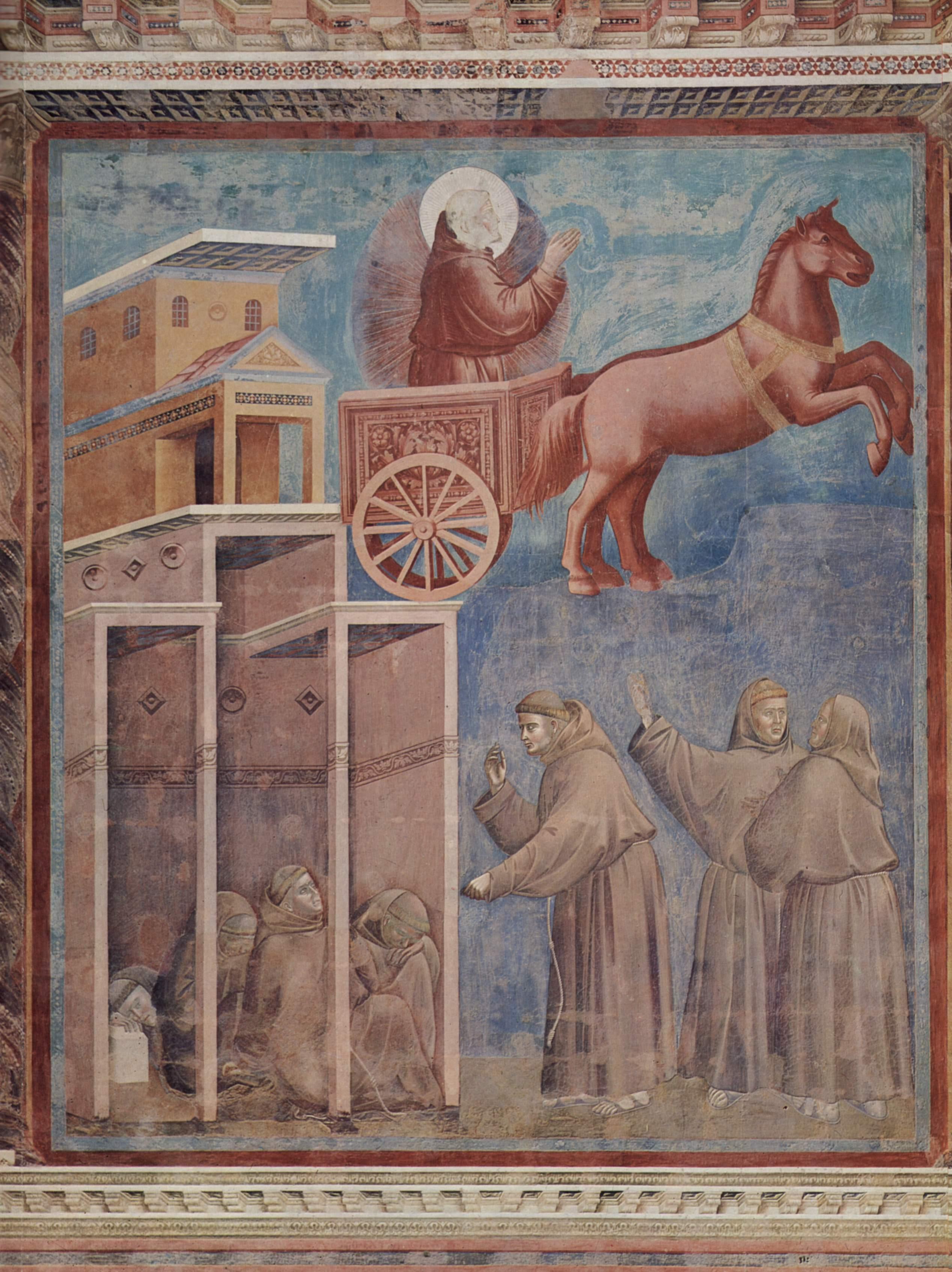 Цикл фресок о жизни св. Франциска Ассизского. Видение огненной колесницы, Джотто ди Бондоне