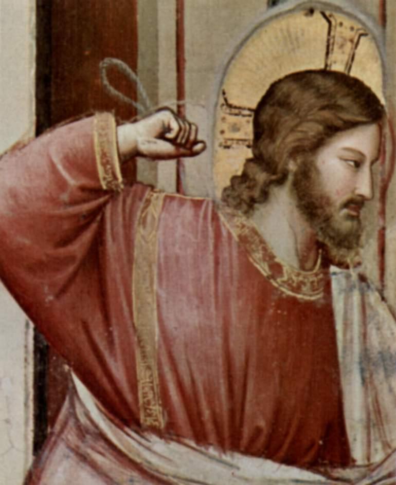 Цикл фресок капеллы Арена [15] в Падуе (капелла Скровеньи). Изгнание торгующих из храма. Фрагмент, Джотто ди Бондоне