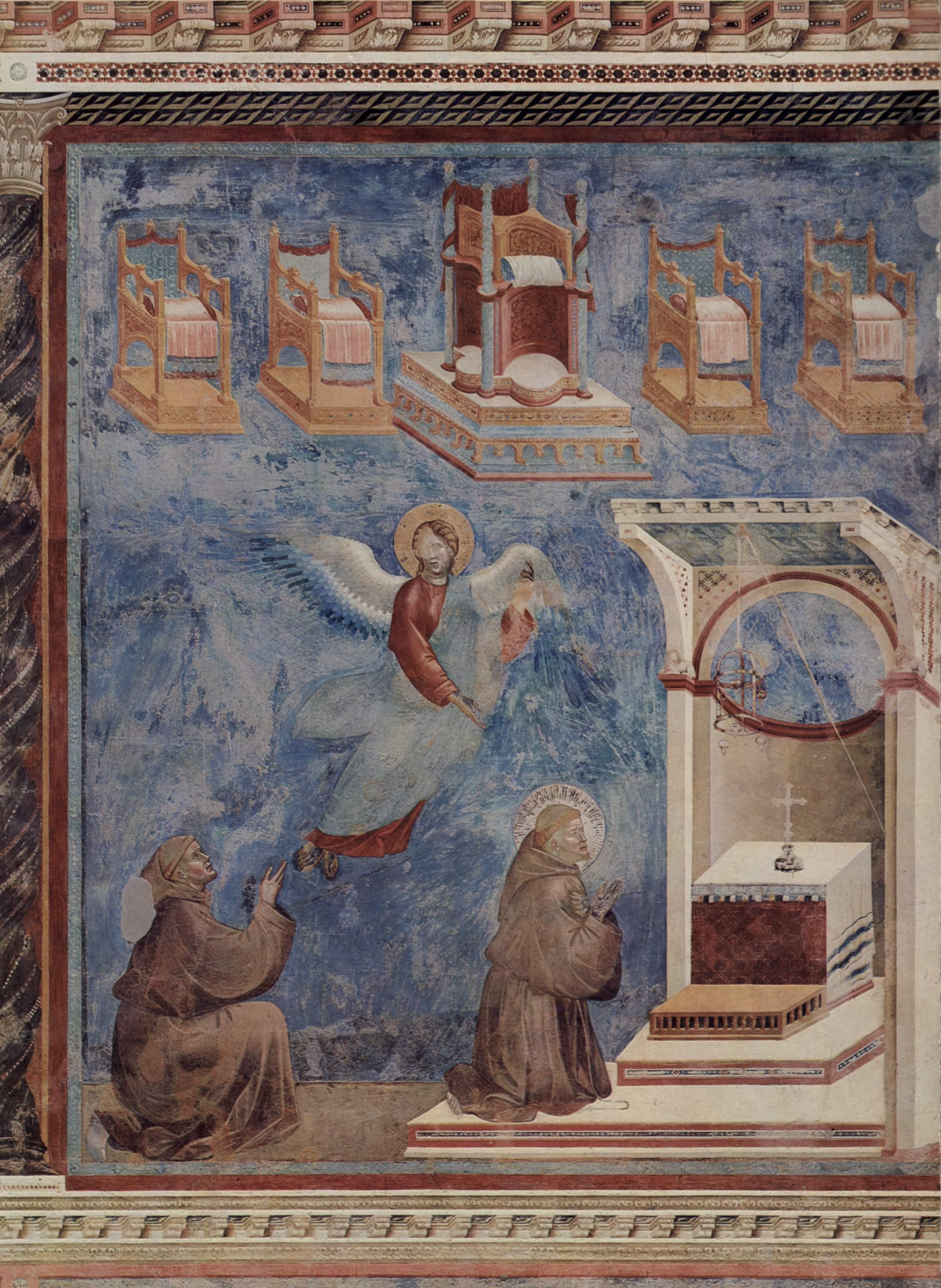 Цикл фресок о жизни св. Франциска Ассизского. Видение престола, Джотто ди Бондоне