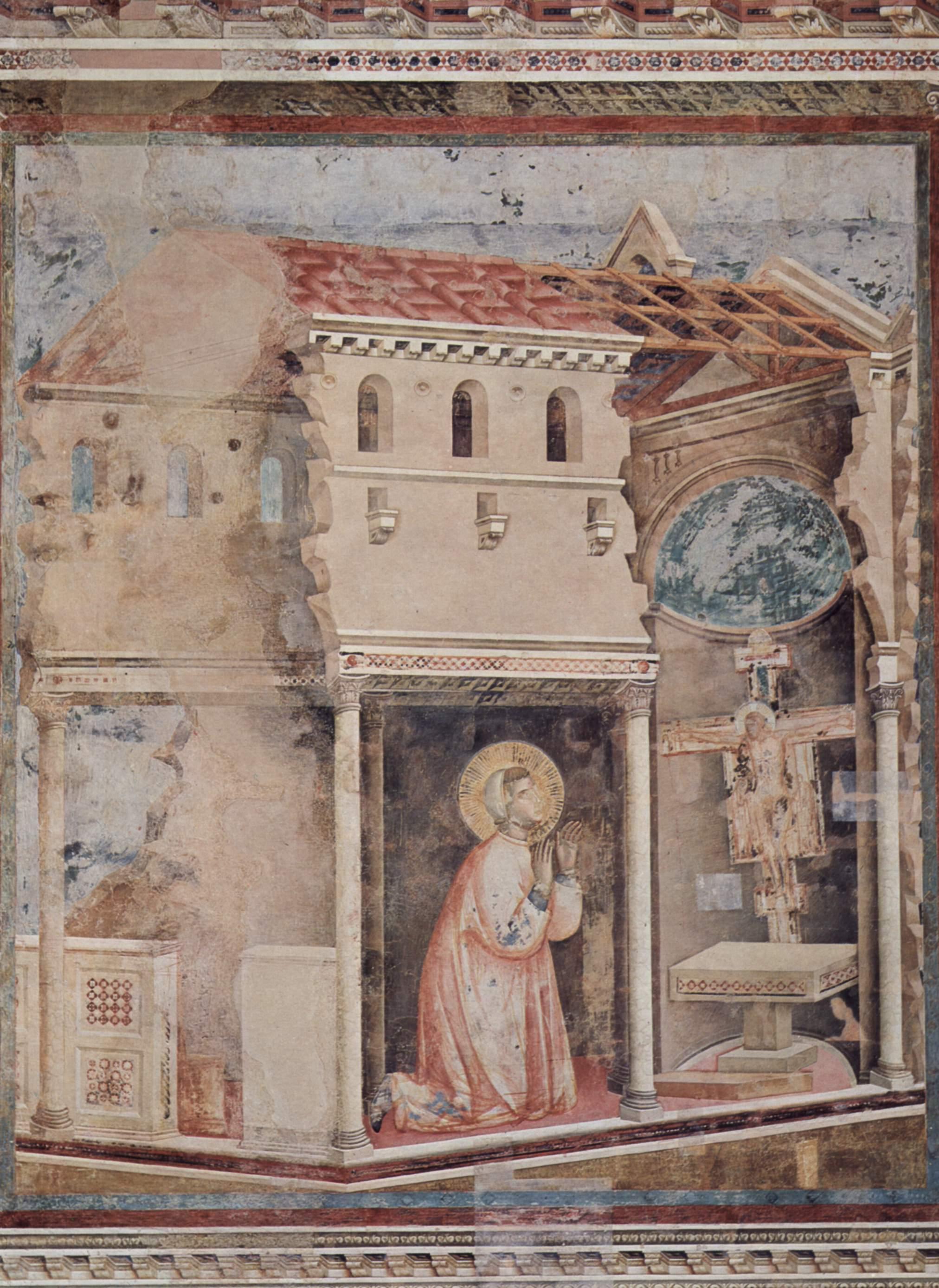 Цикл фресок о жизни св. Франциска Ассизского. Молитва св. Франциска в Сан Дамиано (Франциск получает, Джотто ди Бондоне