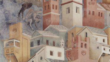 Цикл фресок о жизни св. Франциска Ассизского. Изгнание бесов из Ареццо. Фрагмент. Бесы над городом