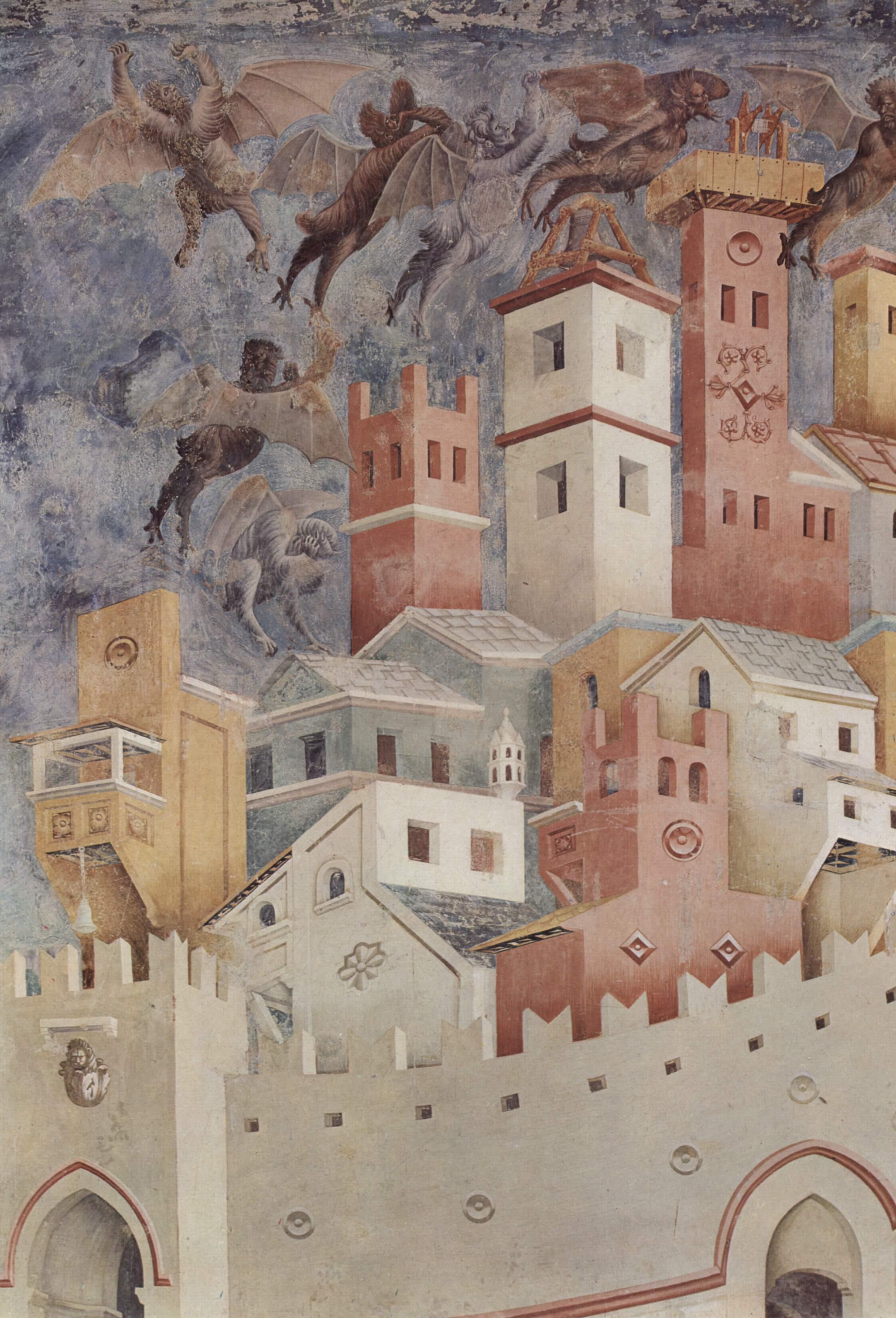 Цикл фресок о жизни св. Франциска Ассизского. Изгнание бесов из Ареццо. Фрагмент. Бесы над городом, Джотто ди Бондоне