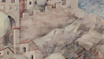 Цикл фресок о жизни св. Франциска Ассизского. св. Франциск дарит свой плащ бедному рыцарю. Фрагмент