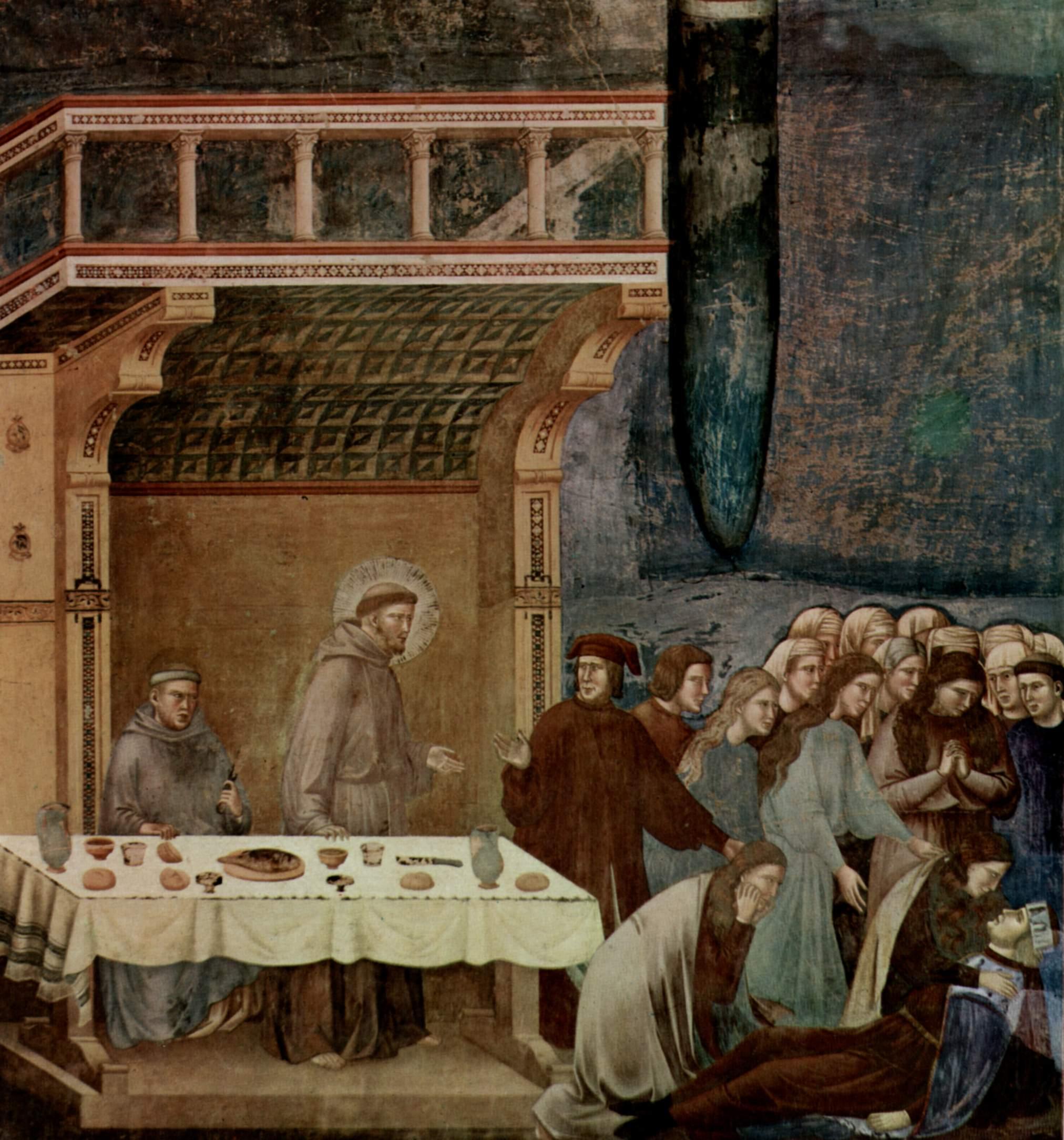 Цикл фресок о жизни св. Франциска Ассизского. Смерть рыцаря из Челано, Джотто ди Бондоне