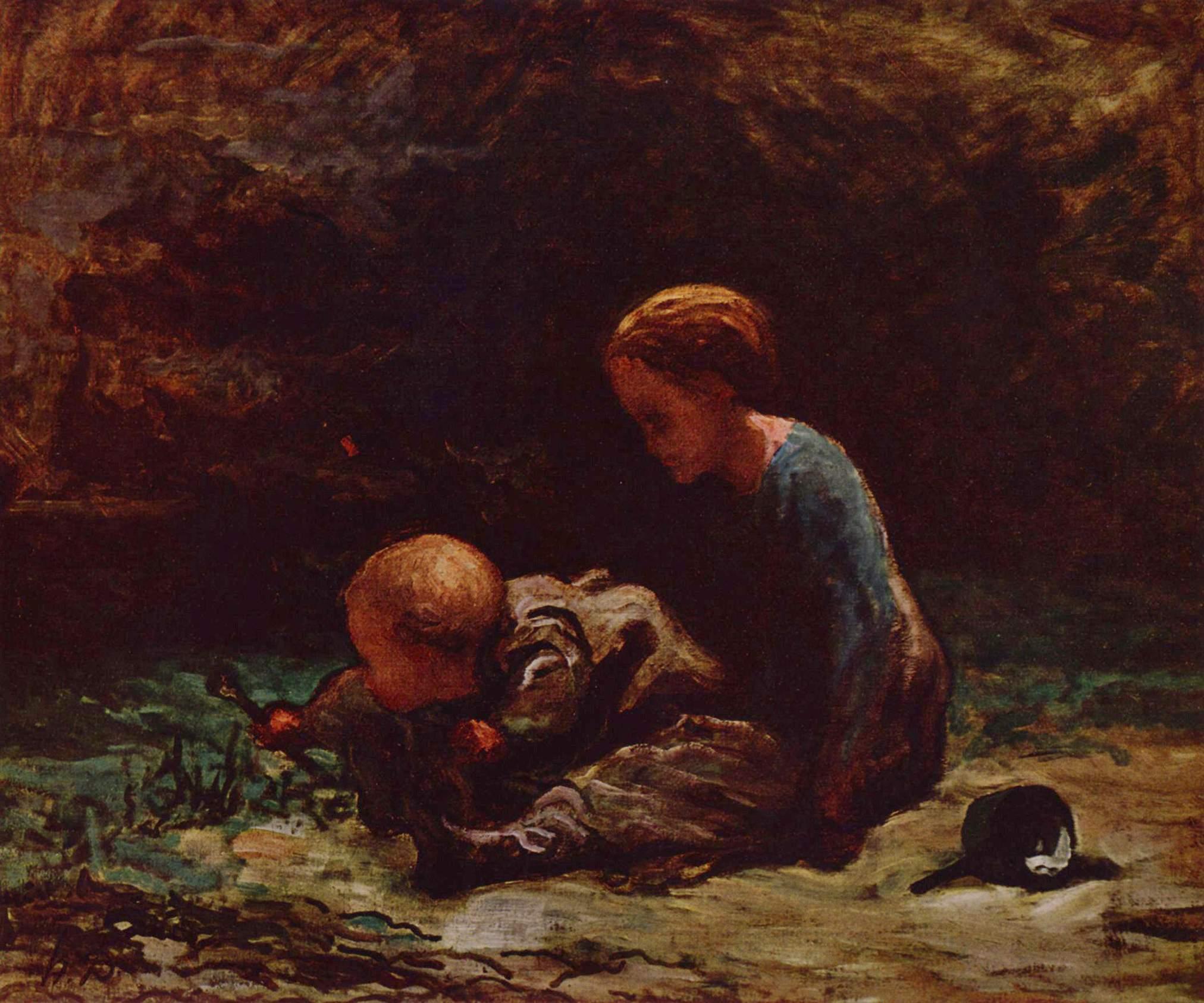 Девочка с малышом, Домье Оноре