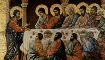 Маэста, алтарь сиенского кафедрального собора. Явление Христа ужинающим апостолам