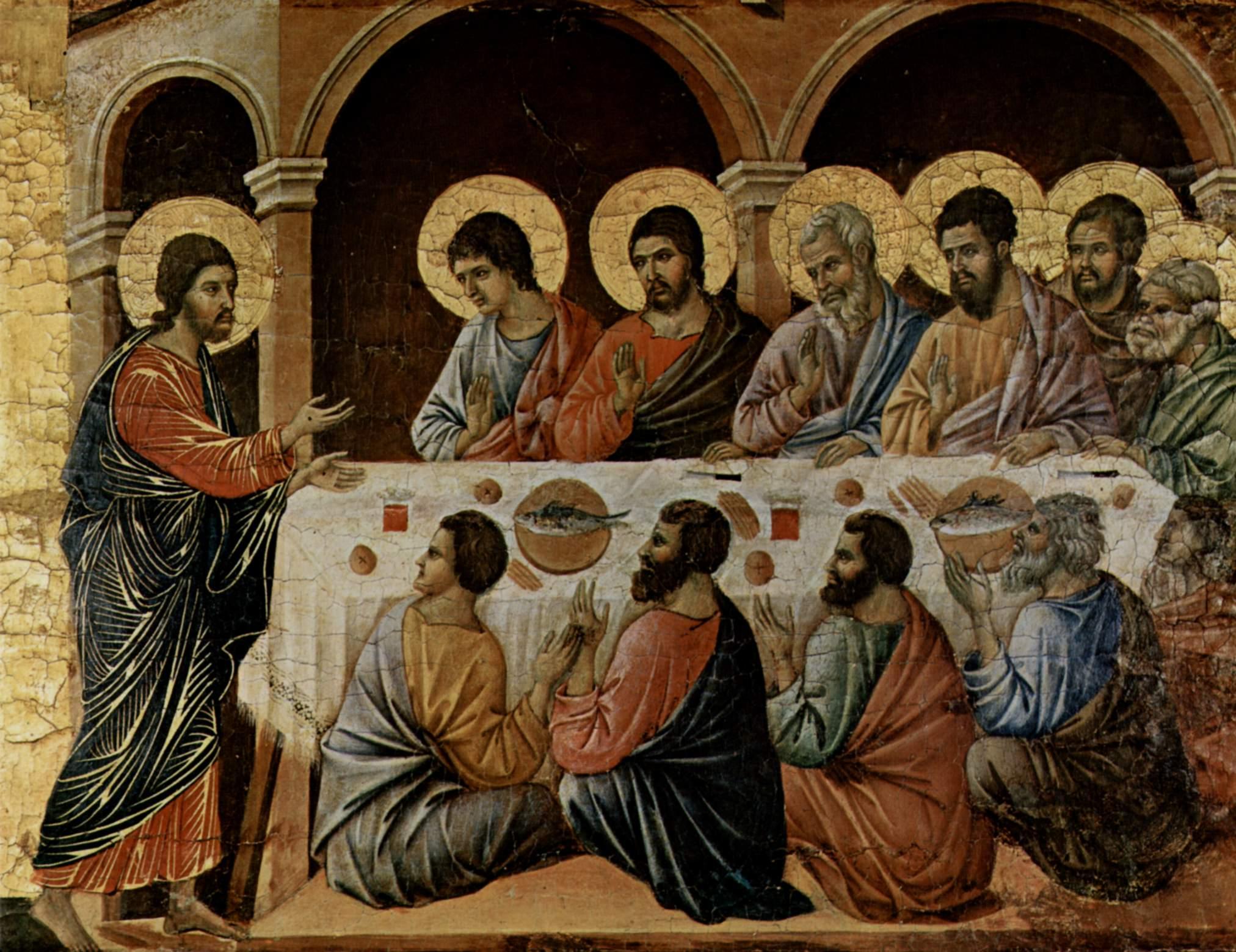 Маэста, алтарь сиенского кафедрального собора, оборотная сторона, Явление Христа, ужинающим апостола, Дуччо ди Буонинсенья