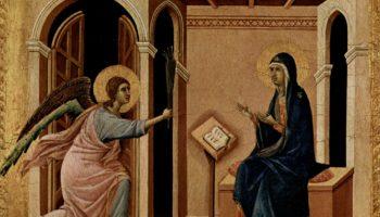 Маэста, алтарь сиенского кафедрального собора, передняя сторона, Алтарь со сценами Успения Марии: Благовещение
