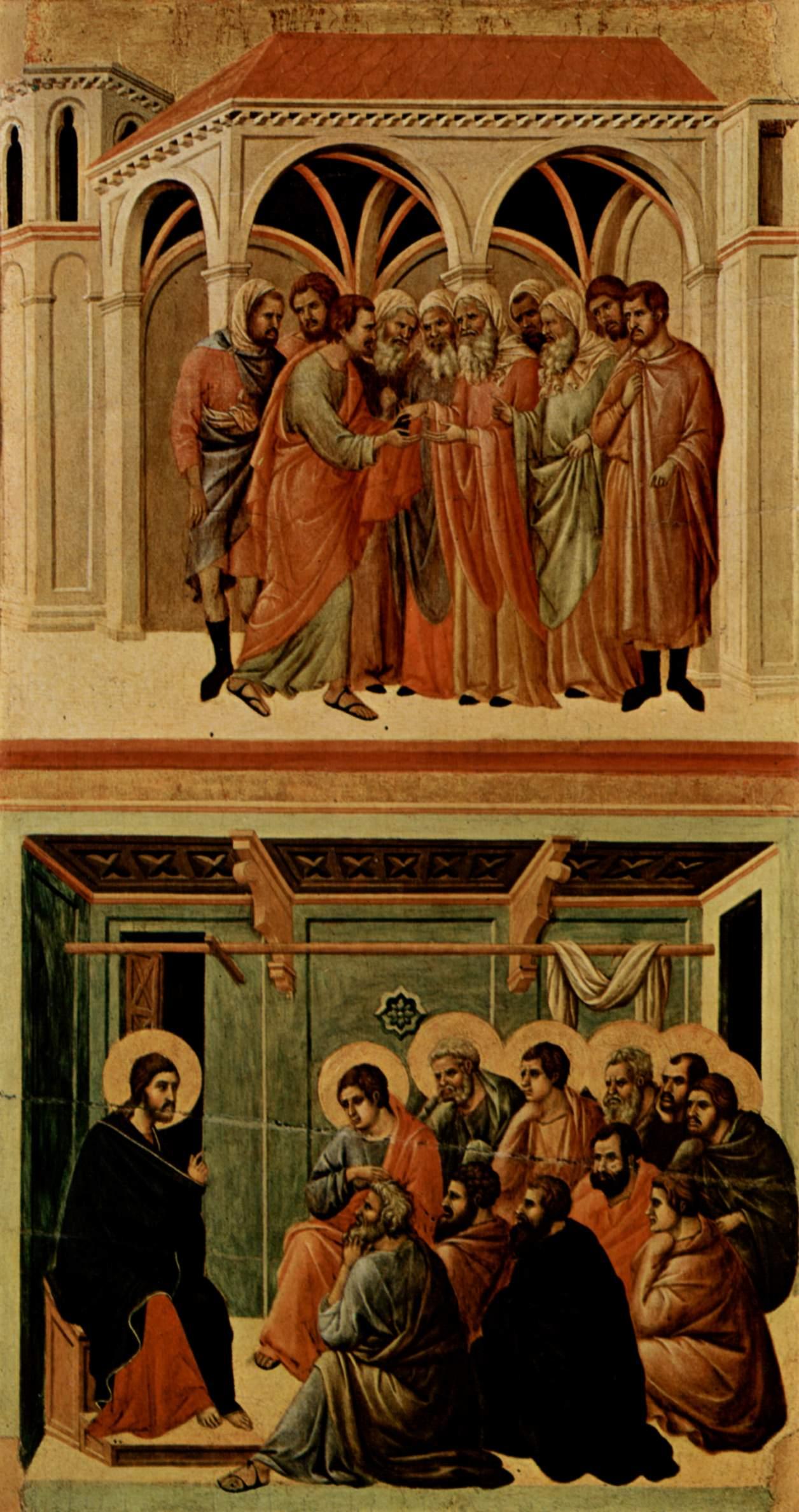 Маэста, алтарь сиенского кафедрального собора, оборотная сторона, Регистр со сценами Страстей Христо, Дуччо ди Буонинсенья