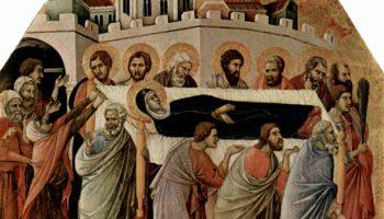 Маэста, алтарь сиенского кафедрального собора, передняя сторона, Алтарь со сценами Успения Марии: Погребение Марии