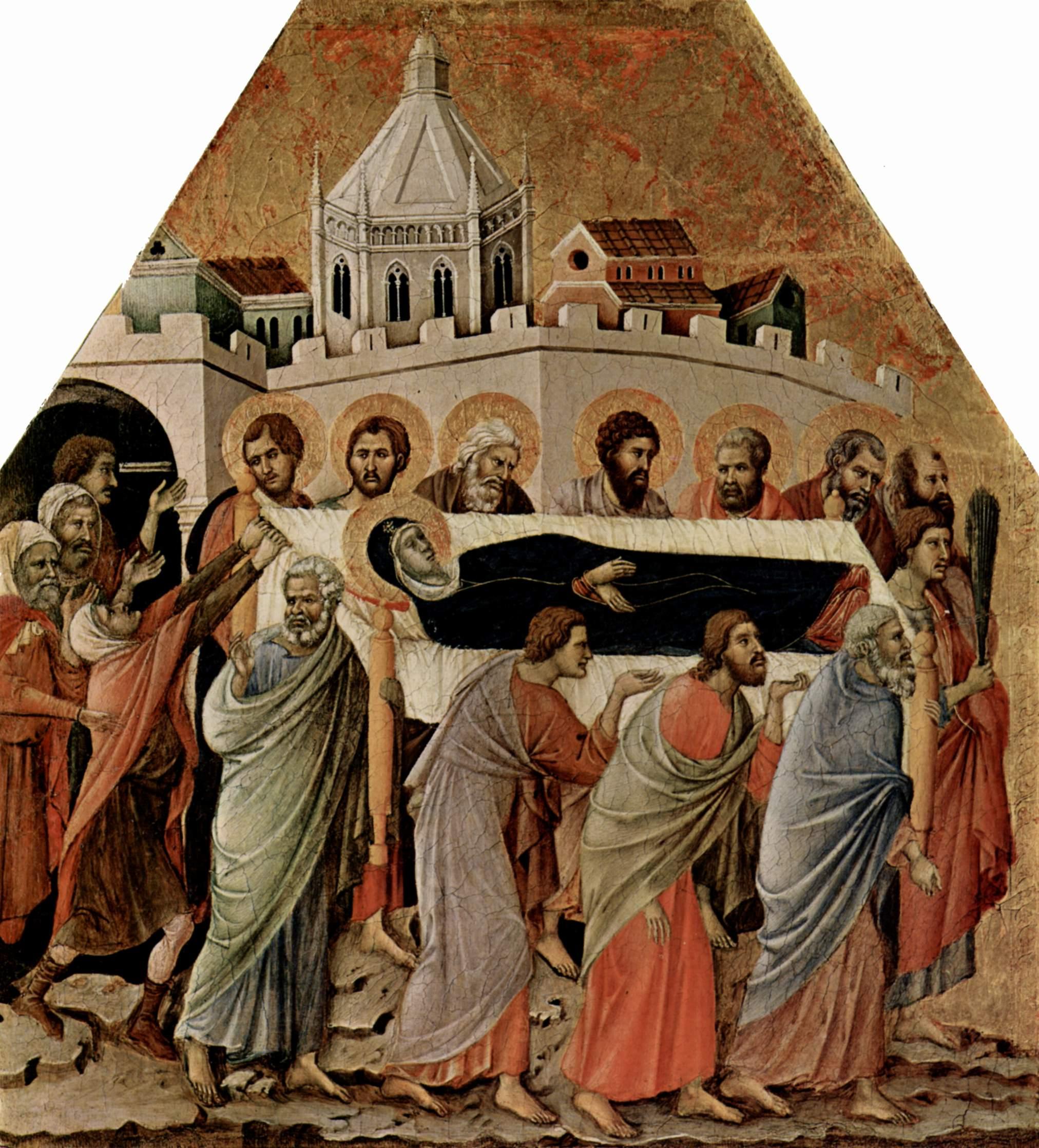 Маэста, алтарь сиенского кафедрального собора, передняя сторона, Алтарь со сценами Успения Марии  По, Дуччо ди Буонинсенья