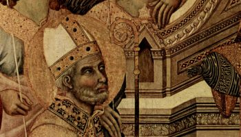 Маэста, алтарь сиенского кафедрального собора, передняя сторона, центральная часть, сцена: Мария с младенцем на престоле, ангела
