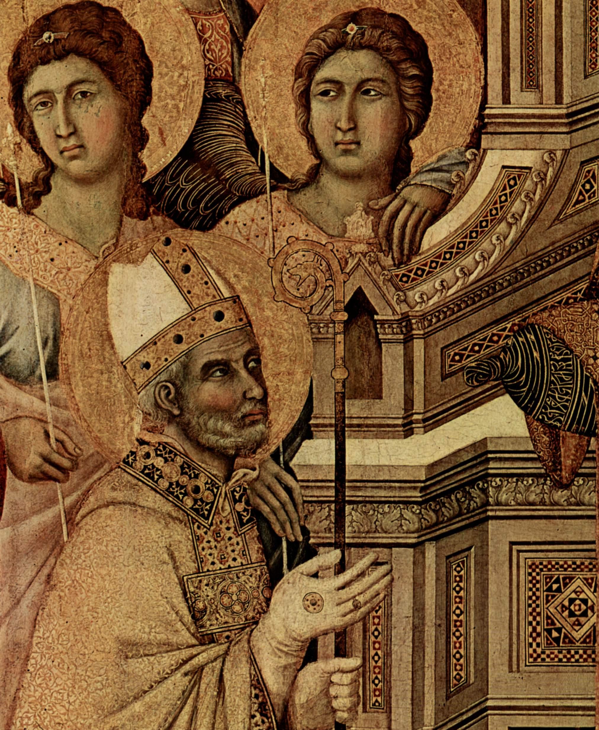 Маэста, алтарь сиенского кафедрального собора, передняя сторона, центральная часть, Мария с младенцем, Дуччо ди Буонинсенья