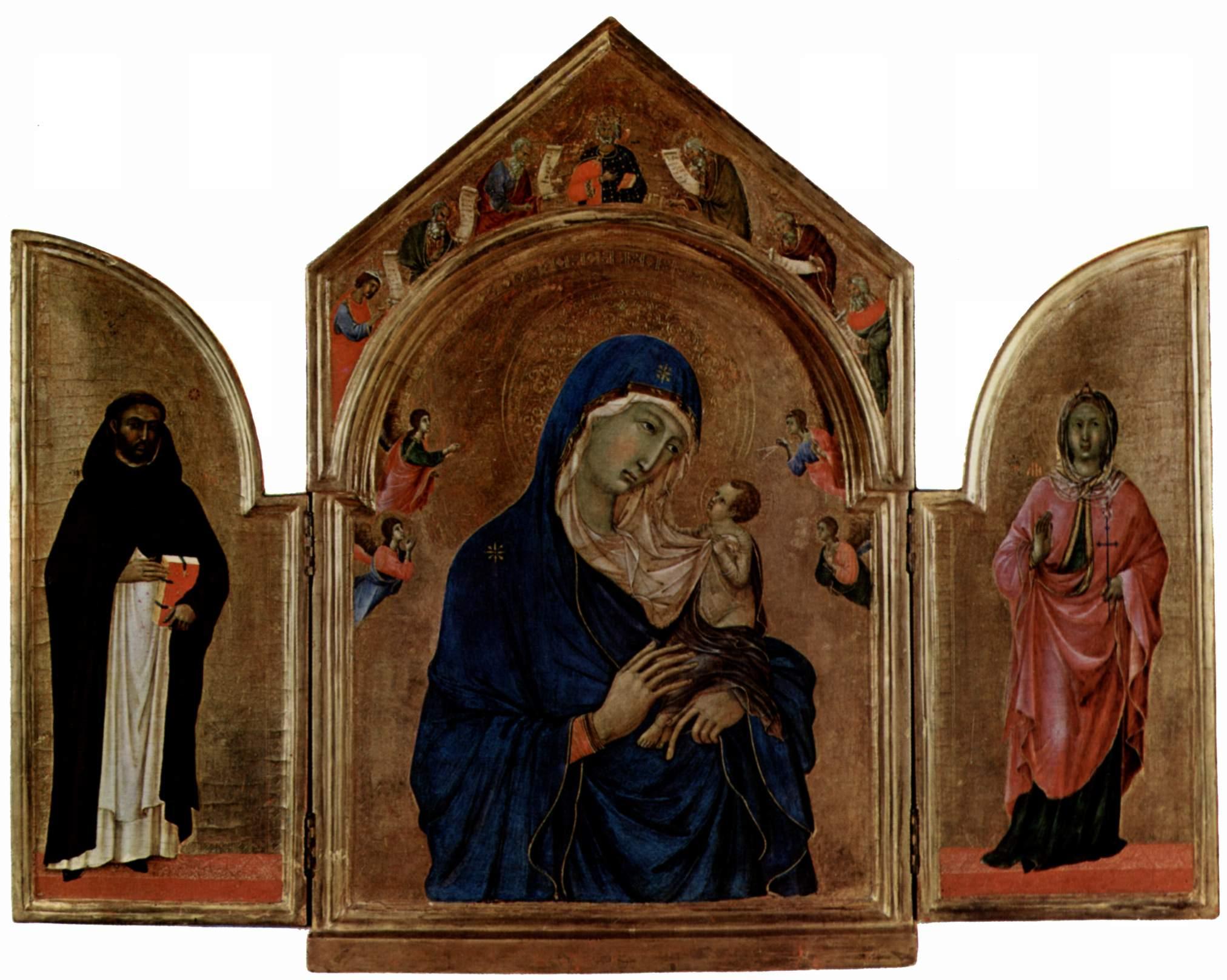Лондонский триптих, центральная часть  Мадонна с ангелом и пророками в тимпане, левая створка  св. Д, Дуччо ди Буонинсенья