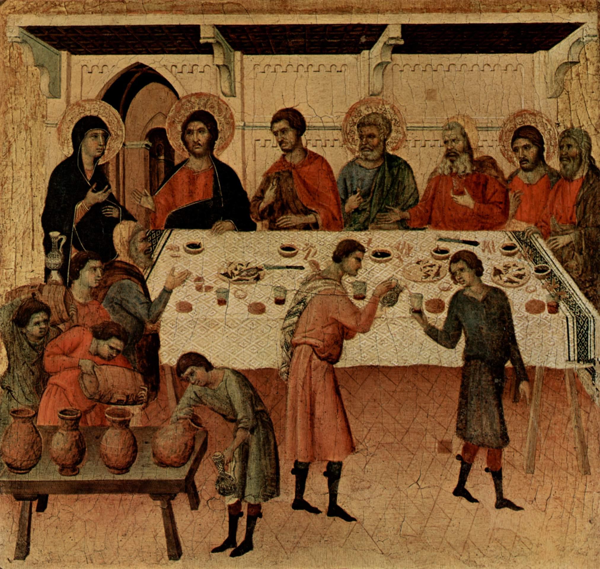 Маэста, алтарь сиенского кафедрального собора, оборотная сторона, пределла со сценами Искушения Хрис, Дуччо ди Буонинсенья