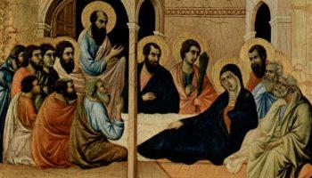 Маэста, алтарь сиенского кафедрального собора, передняя сторона, Алтарь со сценами Успения Марии: Прощание апостолов с Марией