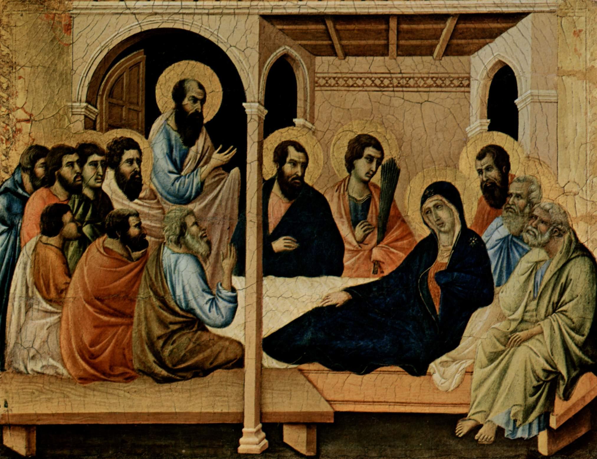 Маэста, алтарь сиенского кафедрального собора, передняя сторона, Алтарь со сценами Успения Марии, Дуччо ди Буонинсенья