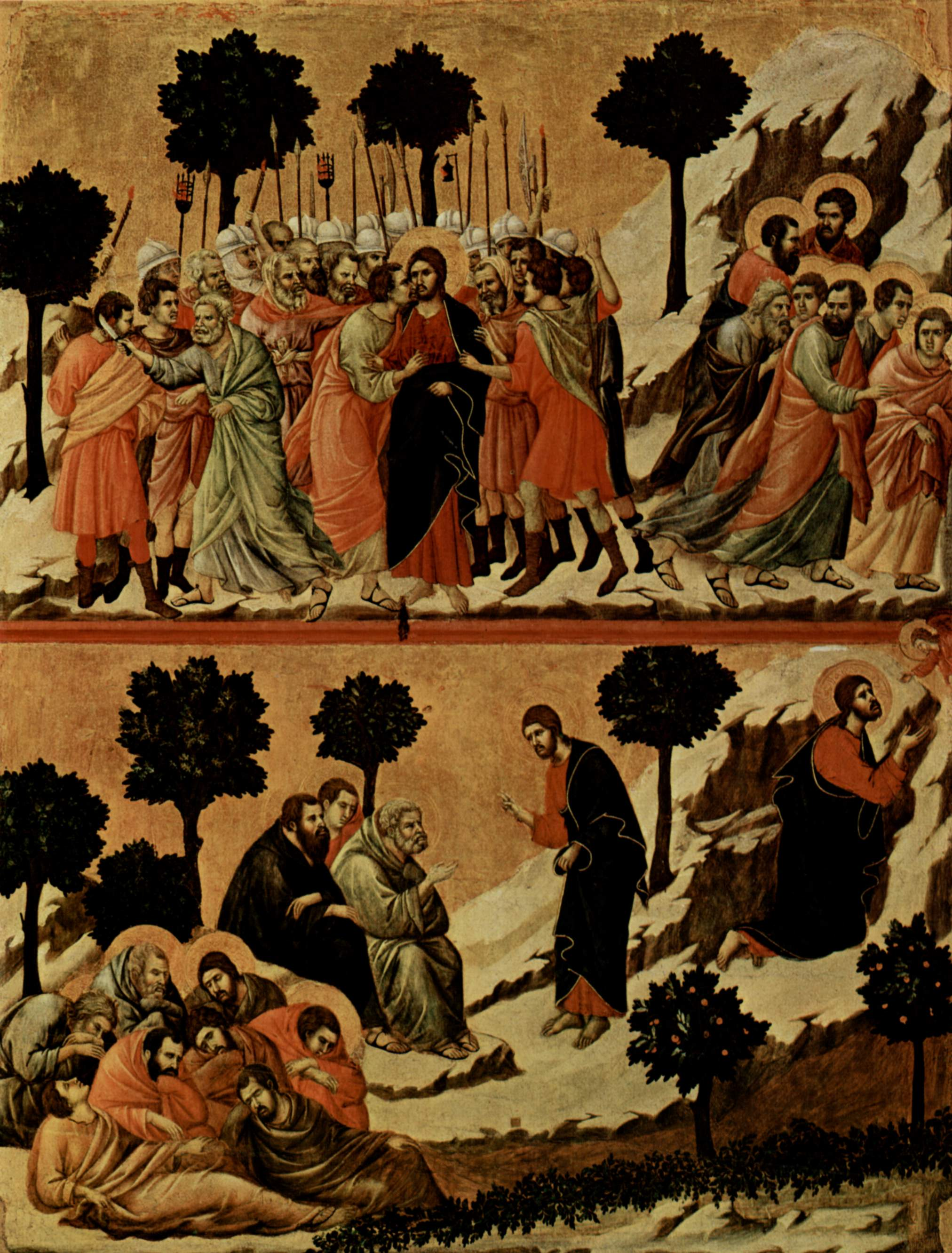 Маэста, алтарь сиенского кафедрального собора, оборотная сторона, Регистр со сценами Страстей Христовых, Дуччо ди Буонинсенья