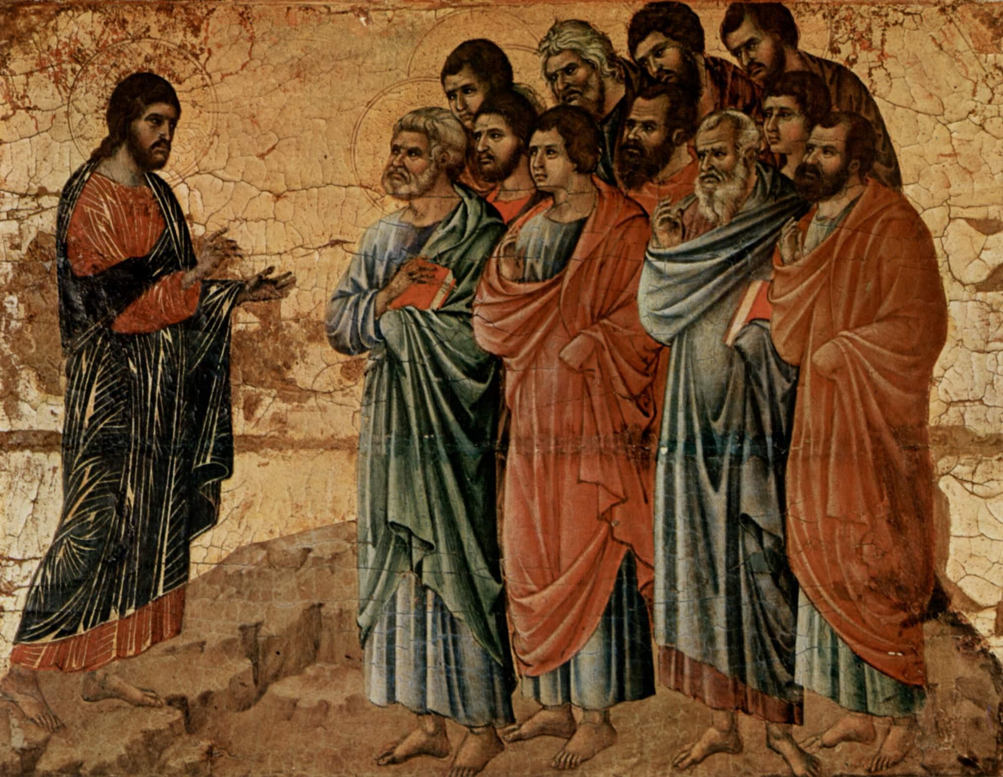 Маэста, алтарь сиенского кафедрального собора, оборотная сторона, Явление Христа на горе Галилейской, Дуччо ди Буонинсенья