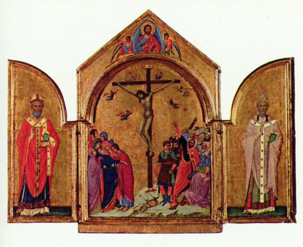 Распятие (триптих), слева  св. Николай, справа  св. Григорий, Дуччо ди Буонинсенья
