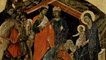 Маэста, алтарь сиенского кафедрального собора, передняя сторона, пределла со сценами из детства Иисуса и пророками