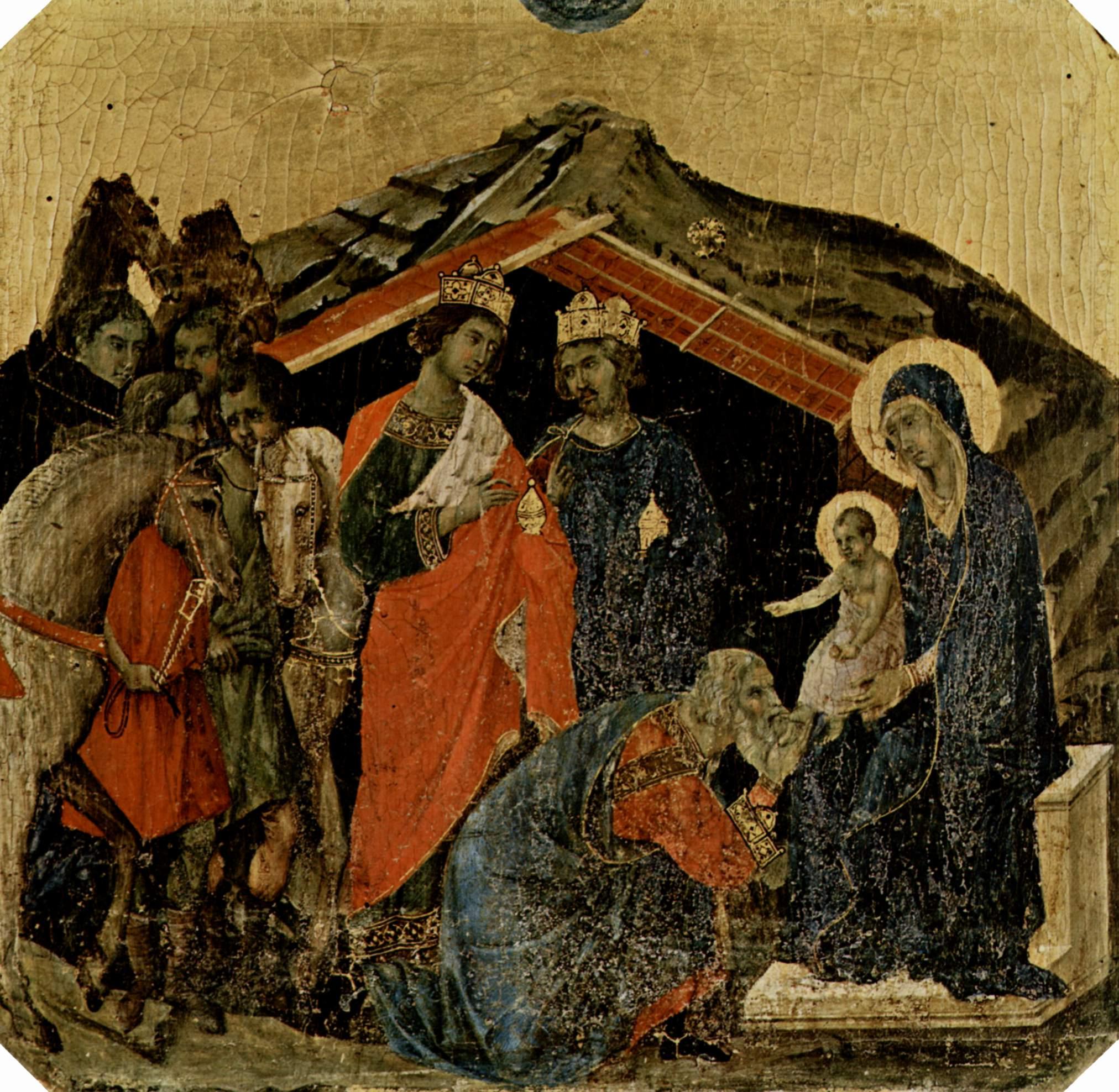Маэста, алтарь сиенского кафедрального собора, передняя сторона, пределла со сценами из детства Иисуса, Дуччо ди Буонинсенья