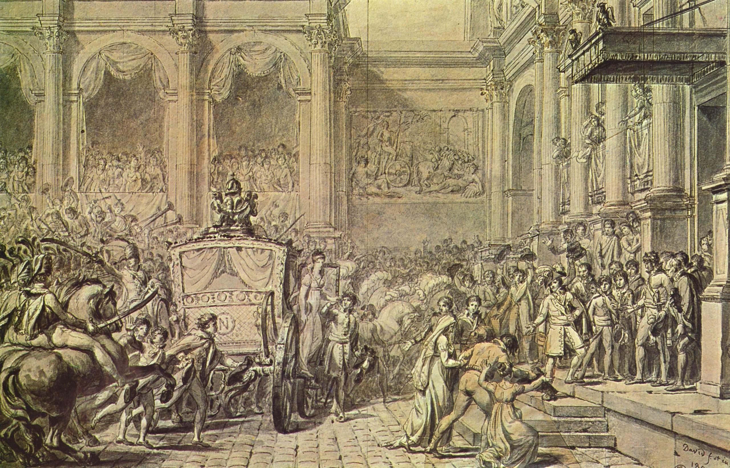 Прибытие Наполеона в ратушу, Жак - Луи Давид