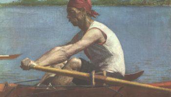 Джон Биглин на веслах в одиночной байдарке