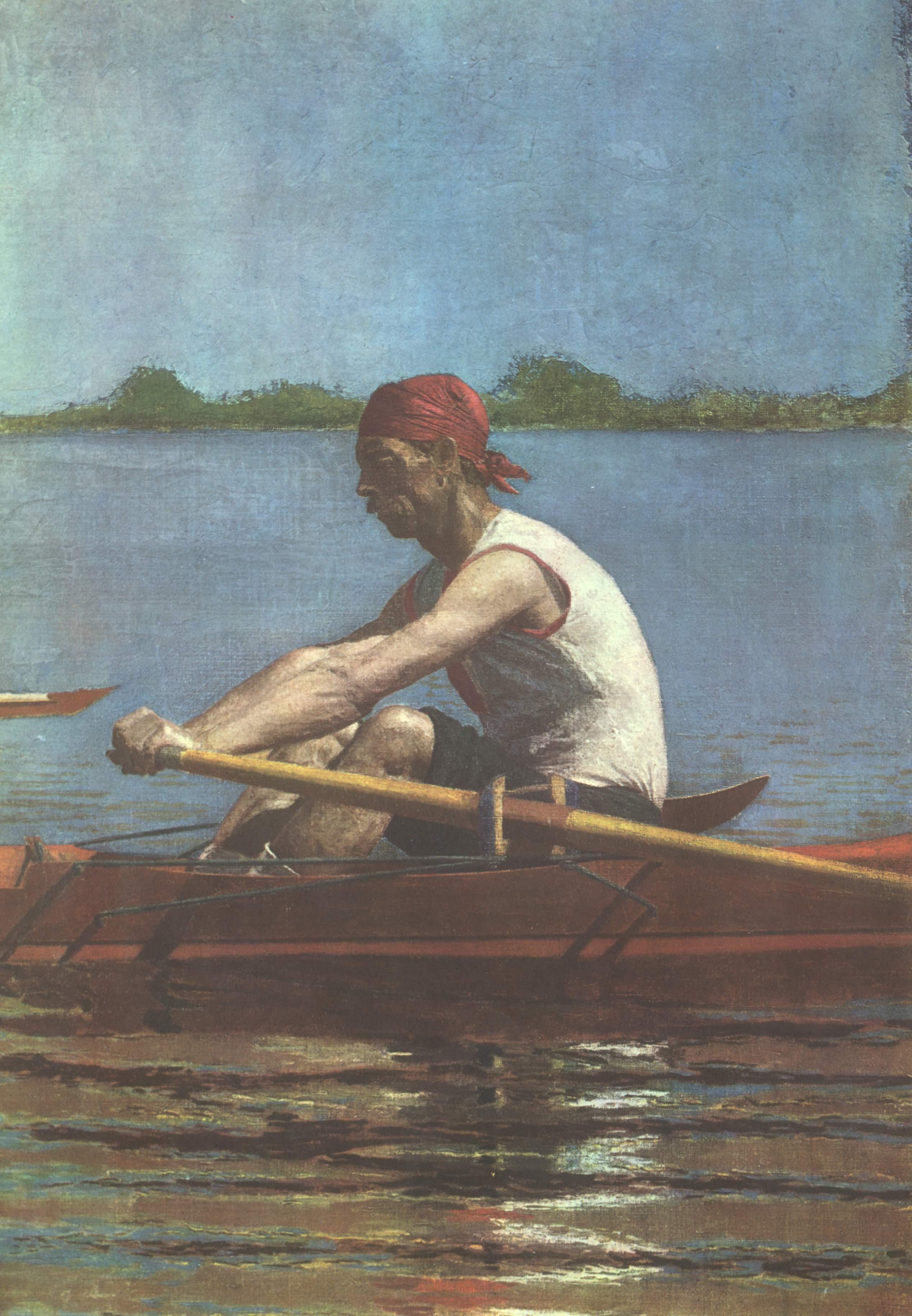 Джон Биглен на веслах в одноместной лодке, Икинс Томас