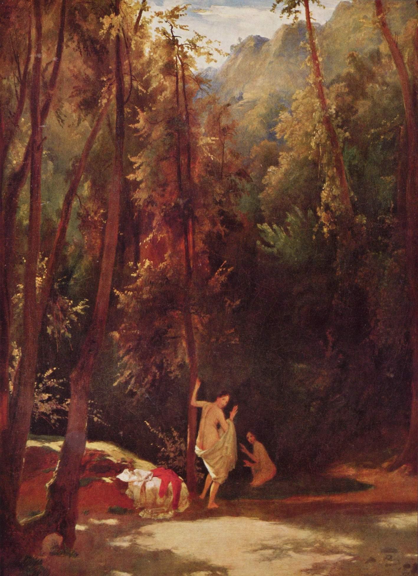 Купающиеся девушки в парке Терни, Карл Эдуард Фердинанд Блехен