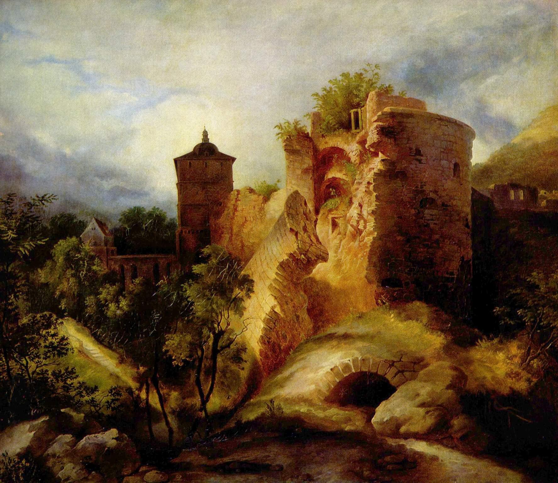 Взорванная башня Гейдельбергского замка, Карл Эдуард Фердинанд Блехен