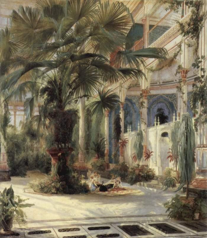Пальмовая оранжерея на Павлиньем острове близ Потсдама, Карл Эдуард Фердинанд Блехен