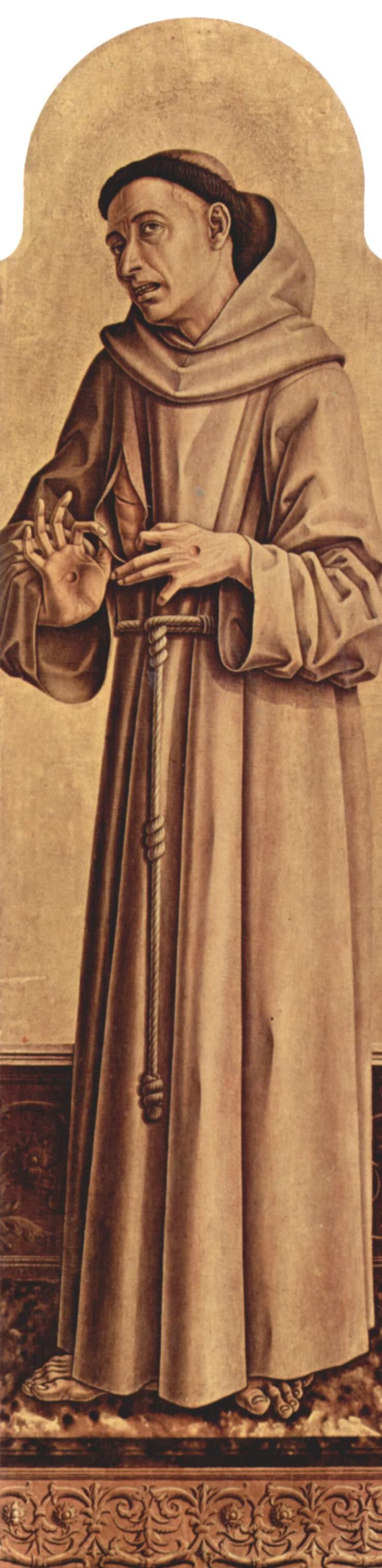 Алтарный полиптих церкви Сан Франческо в Монтефиоре дель Азо, правая внутренняя доска  св. Франциск, Карло Кривелли