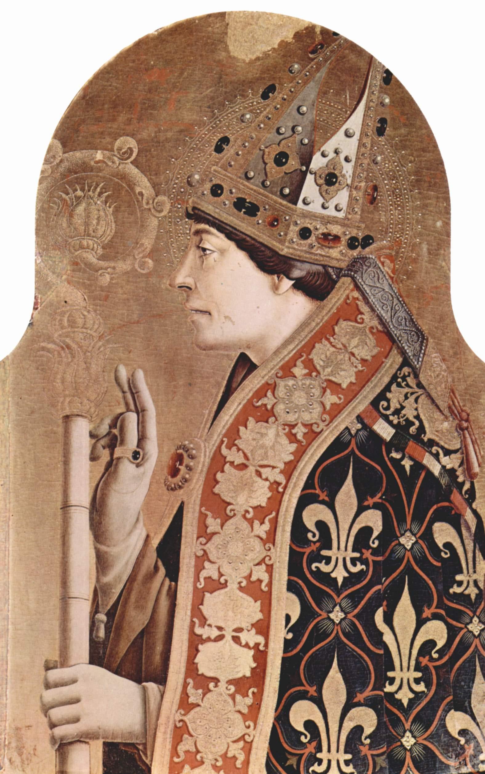 Алтарный полиптих церкви Сан Франческо в Монтефиоре дель Азо, правое внешнее навершие  св. Людовик, Карло Кривелли
